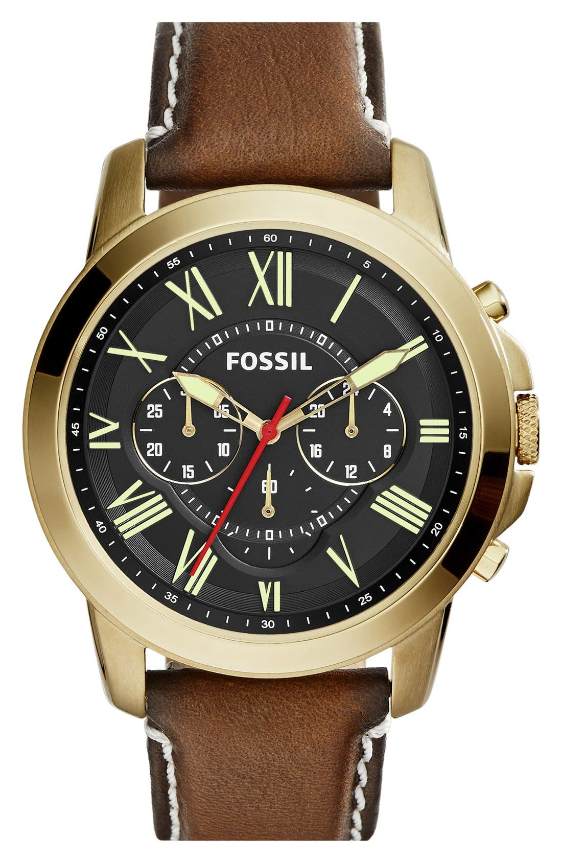 'Grant' Round Chronograph Leather Strap Watch, 44mm,                             Main thumbnail 23, color,