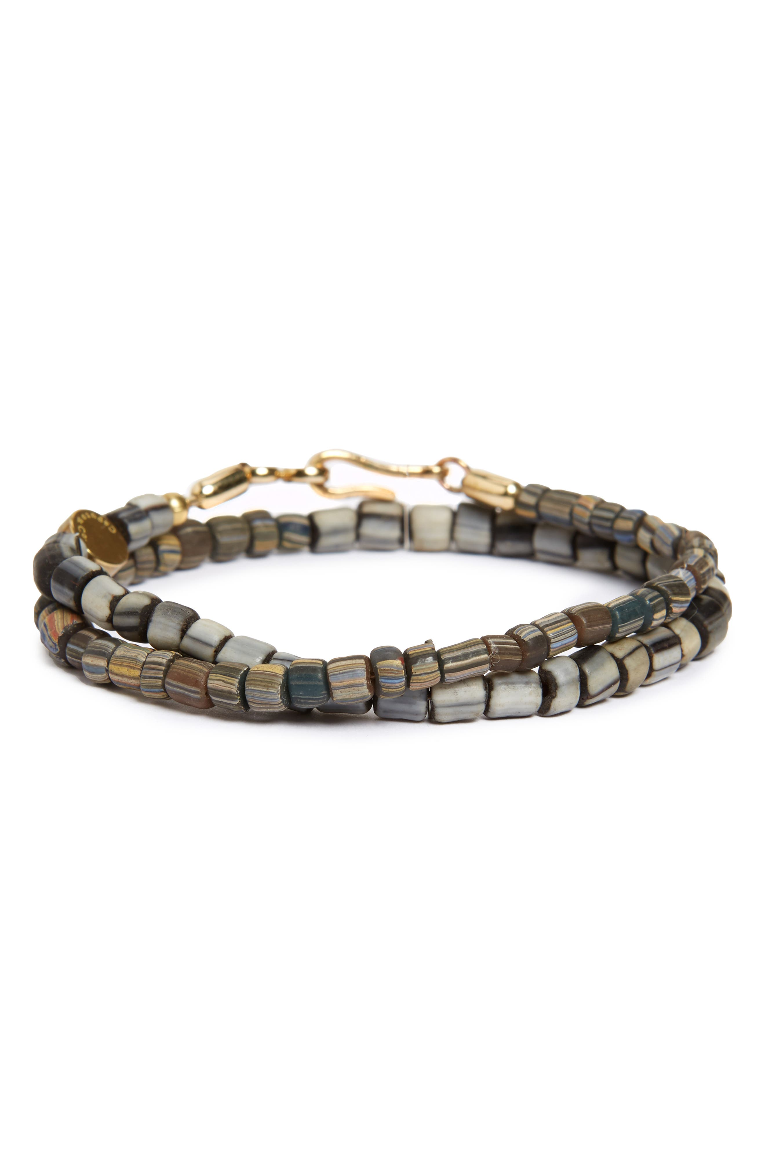Glass Bead Wrap Bracelet,                             Main thumbnail 1, color,                             GREY/ BROWN COMBO