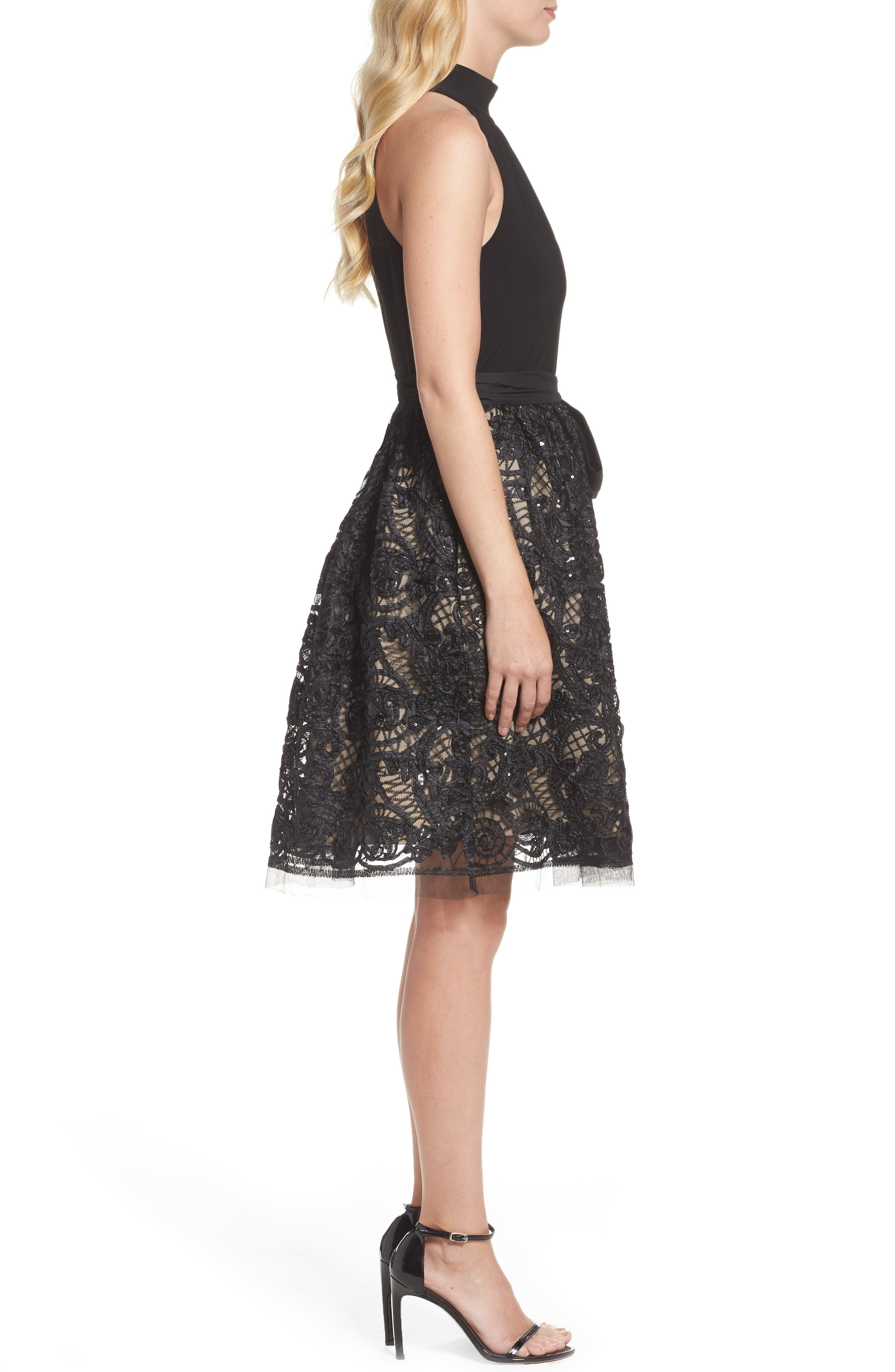 High Neck Jersey & Lace Party Dress,                             Alternate thumbnail 3, color,                             001