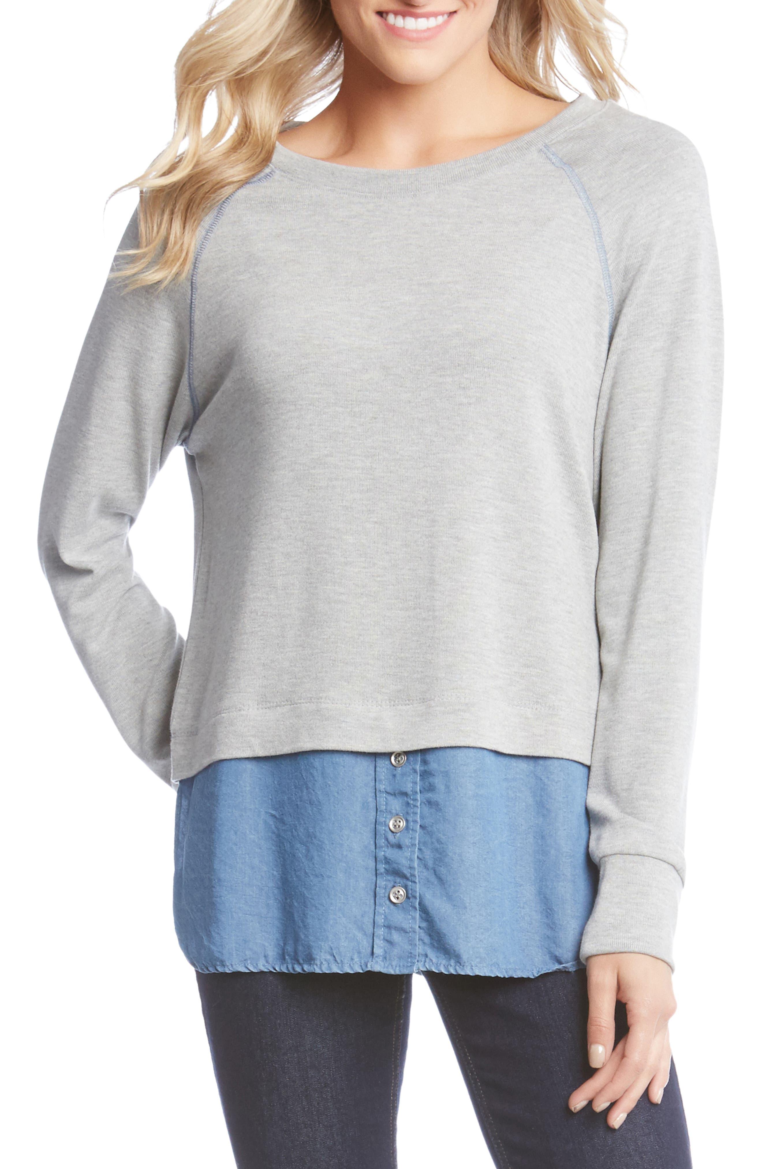 Karen Kane Raglan Sleeve Contrast Sweater, Grey