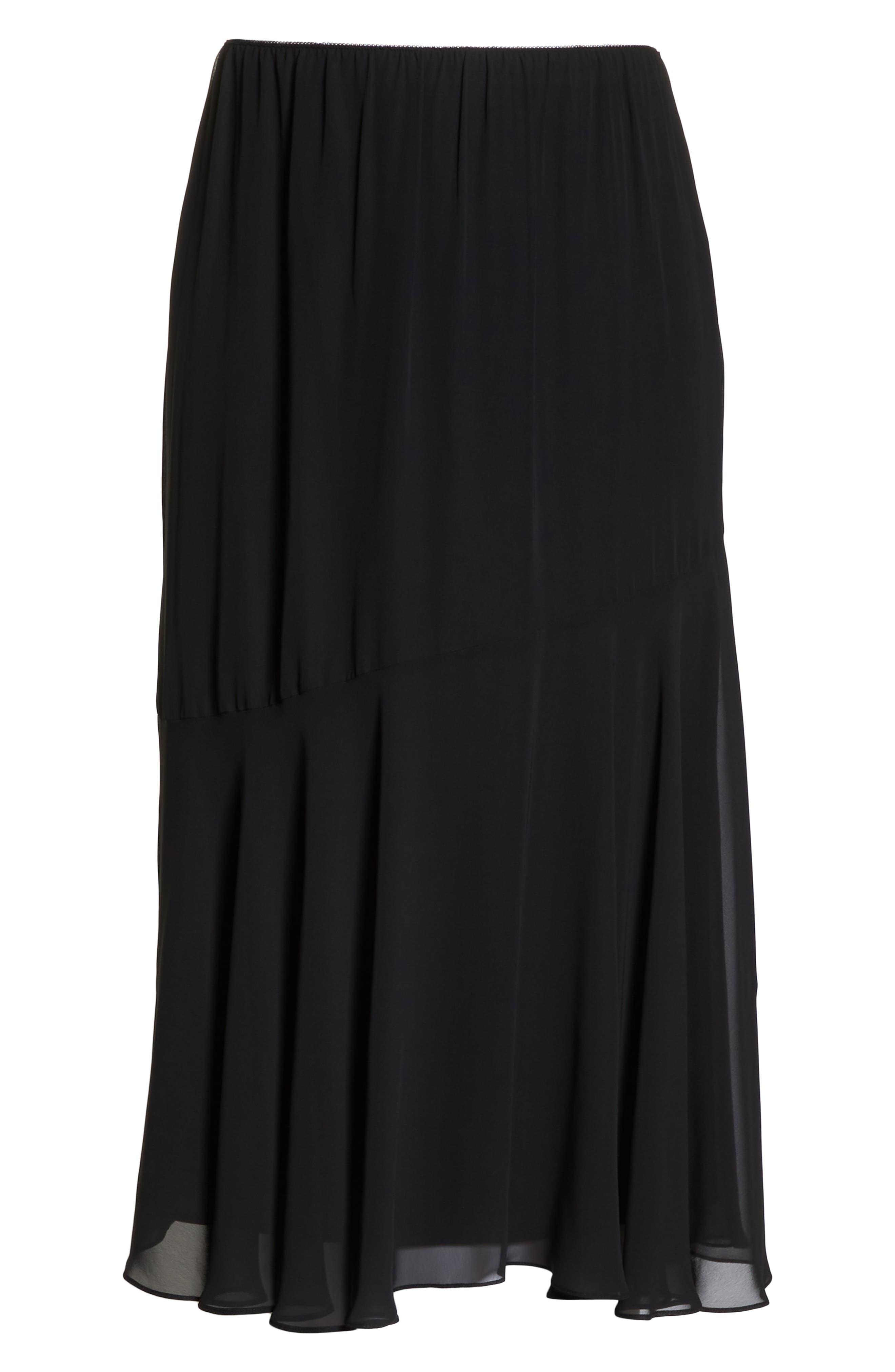 Pleated Chiffon Midi Skirt,                             Alternate thumbnail 6, color,                             BLACK