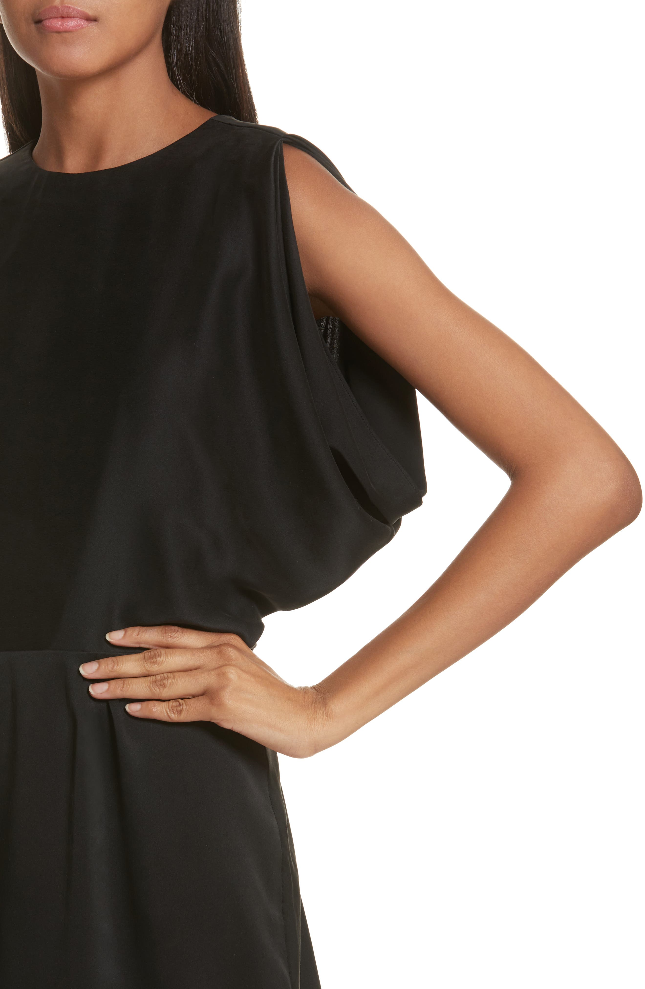 Stone Open Back Silk Dress,                             Alternate thumbnail 4, color,                             001