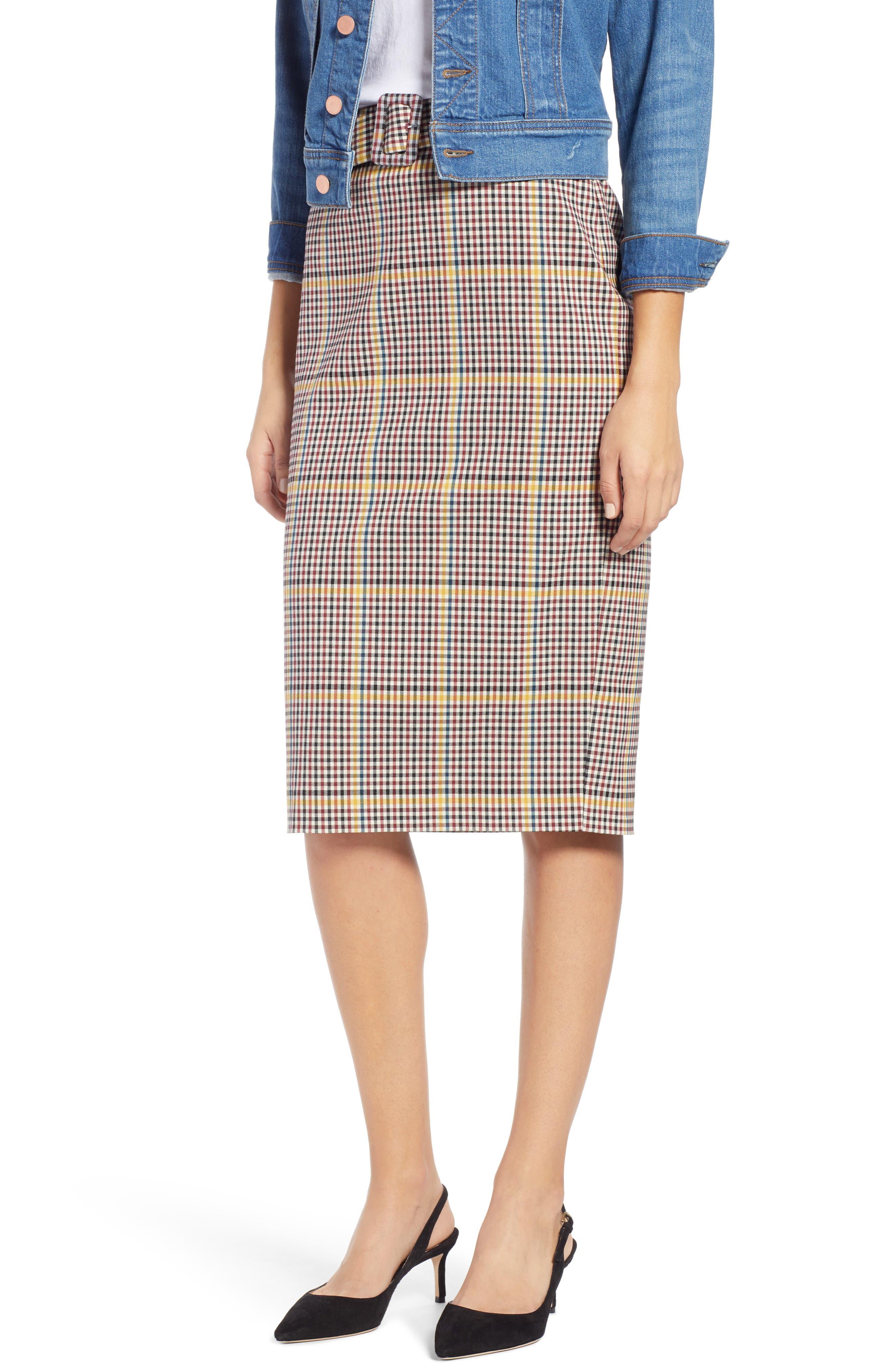 Plaid Pencil Skirt,                             Main thumbnail 1, color,                             601