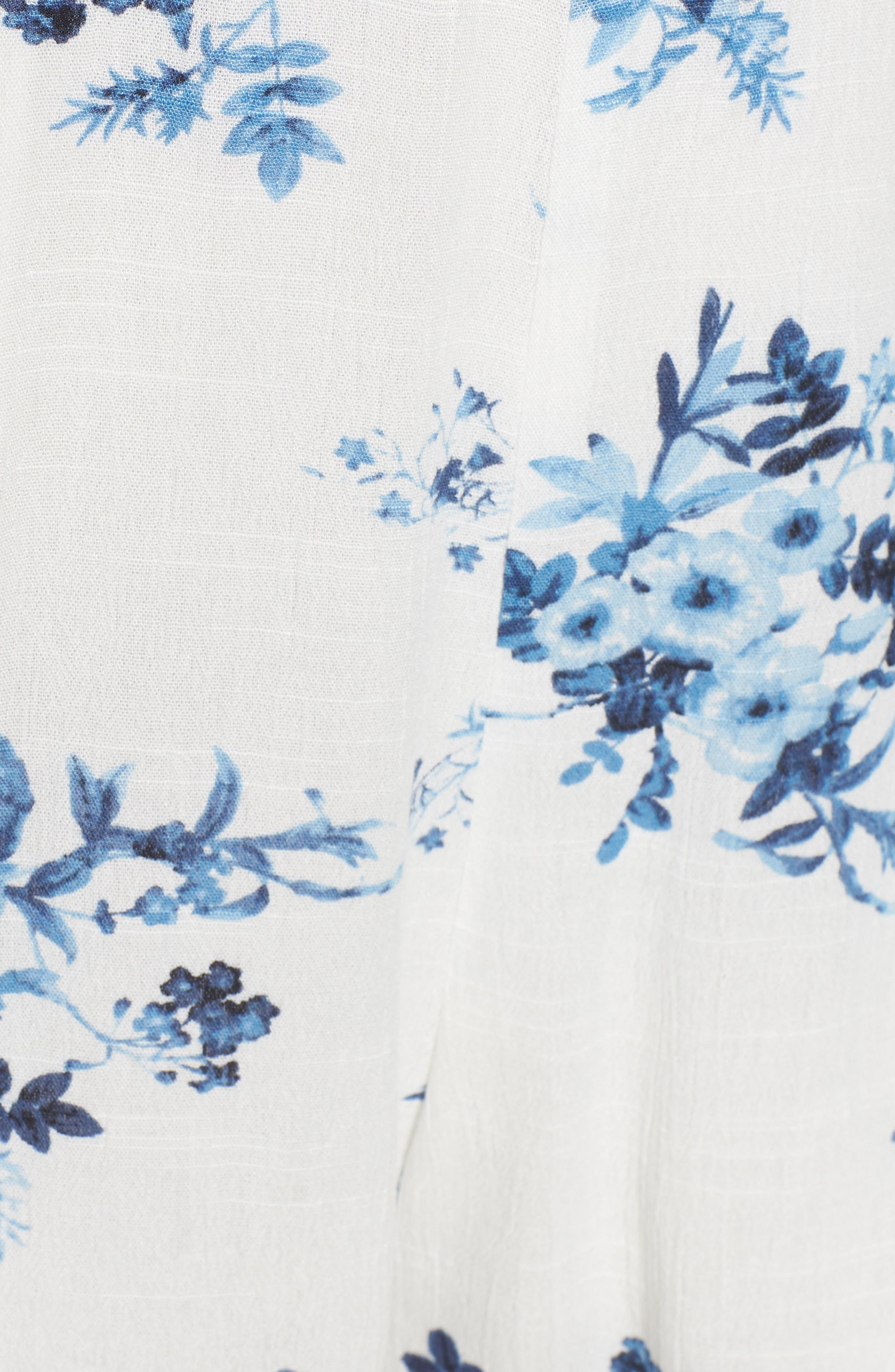 Lace Trim Floral Top,                             Alternate thumbnail 6, color,                             402