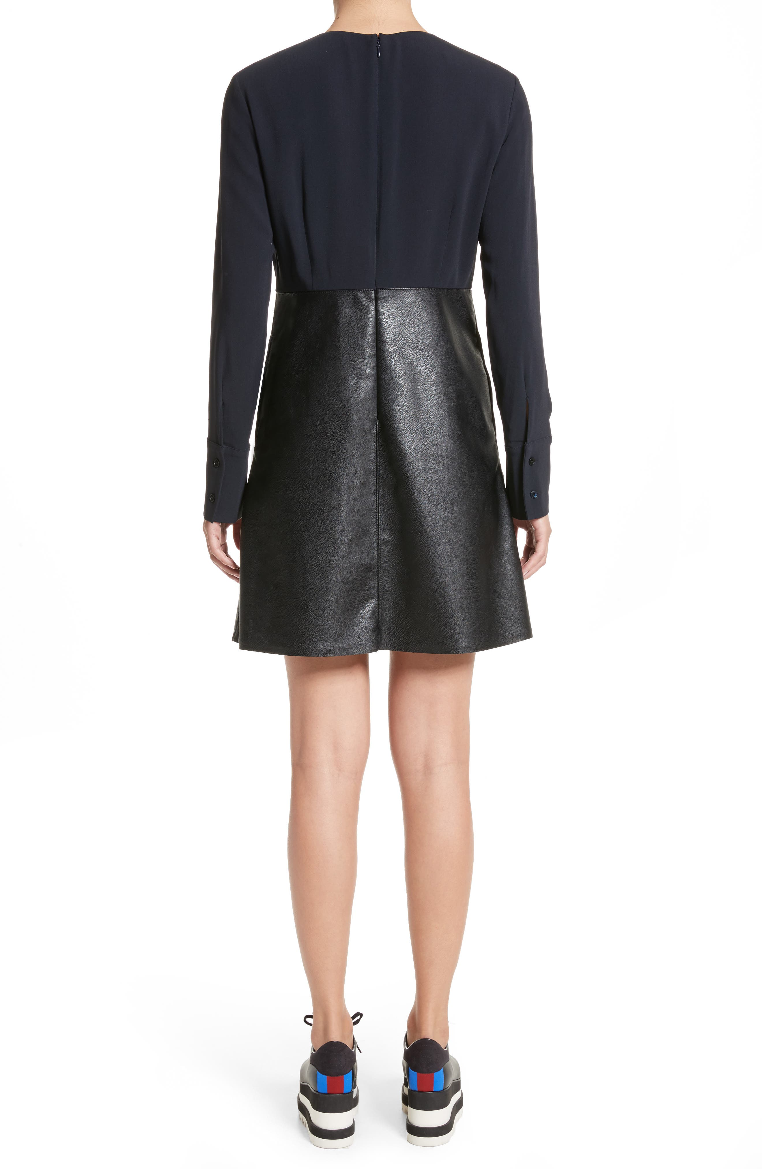 Alter Leather & Stretch Cady Dress,                             Alternate thumbnail 2, color,                             001