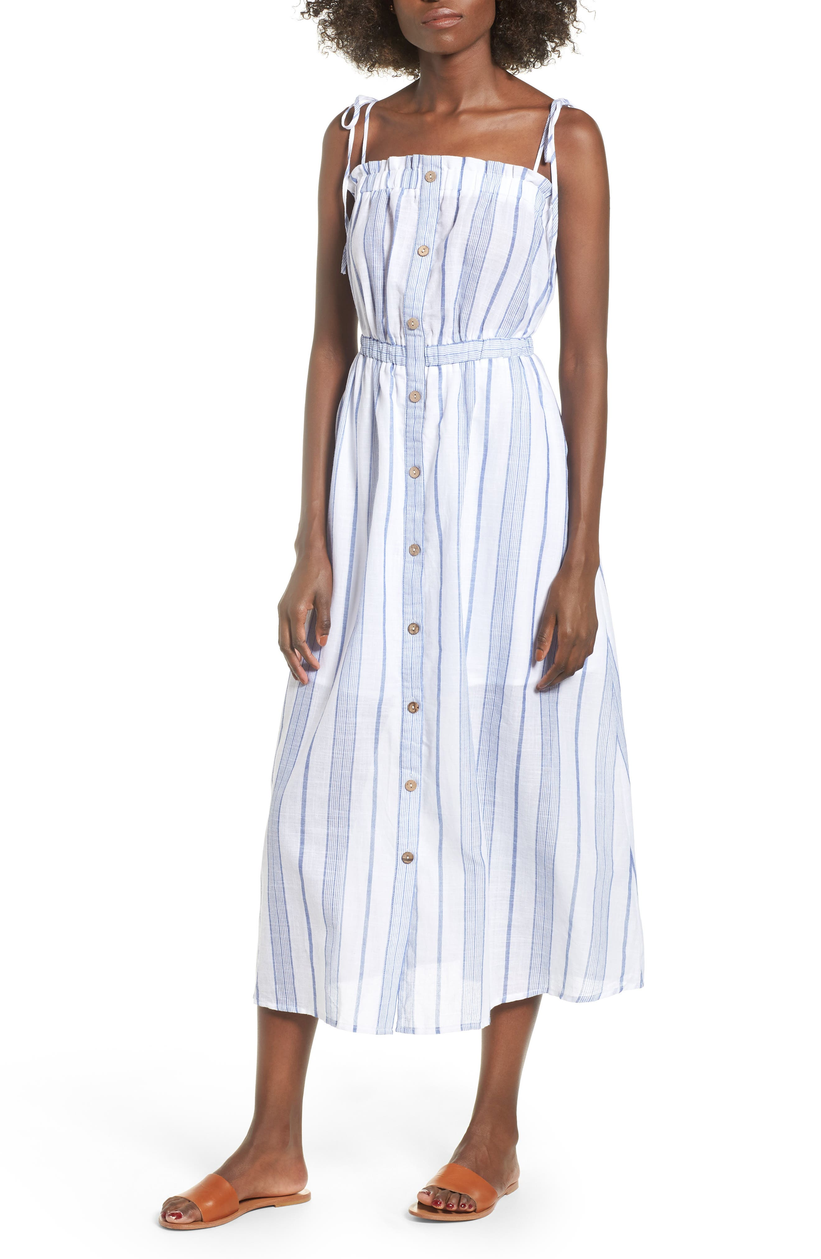 Stripe Tie Strap Dress,                             Main thumbnail 1, color,                             SKY STRIPE