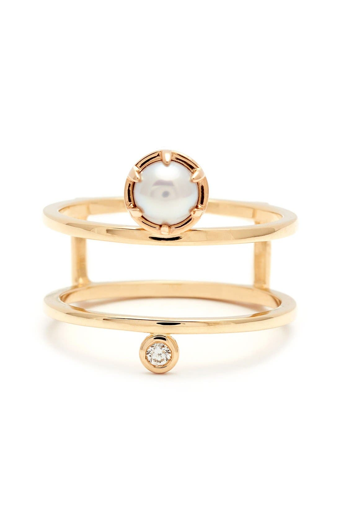 'Reverse Attelage' Double Band Pearl & Diamond Ring,                         Main,                         color, YELLOW/ GOLD/ WHITE