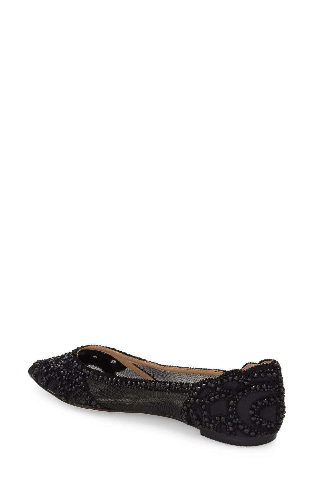 Gigi Crystal Pointy Toe Flat,                             Alternate thumbnail 3, color,                             BLACK SATIN