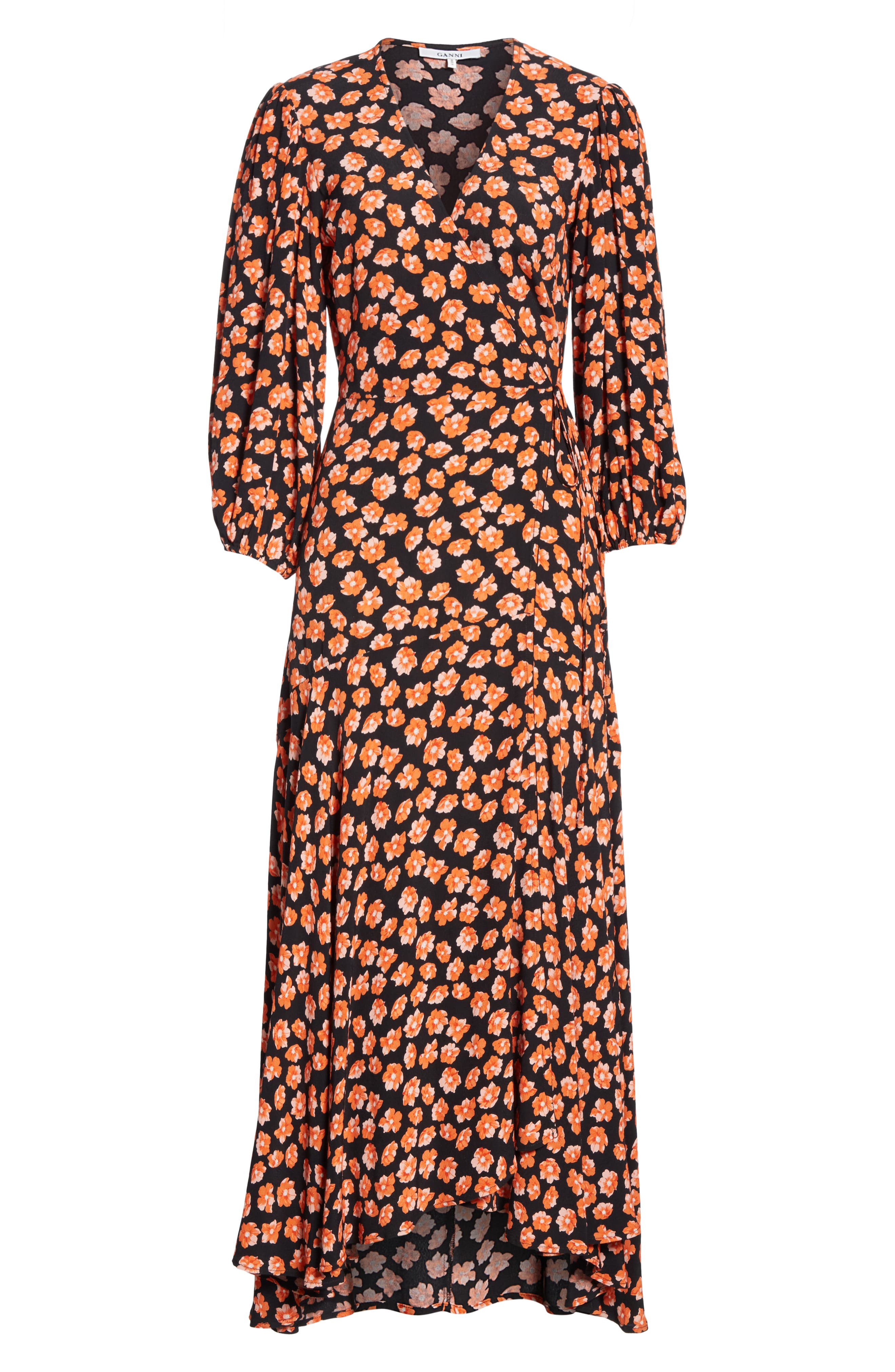 Print Crepe Dress,                             Alternate thumbnail 7, color,                             FIERY RED 403