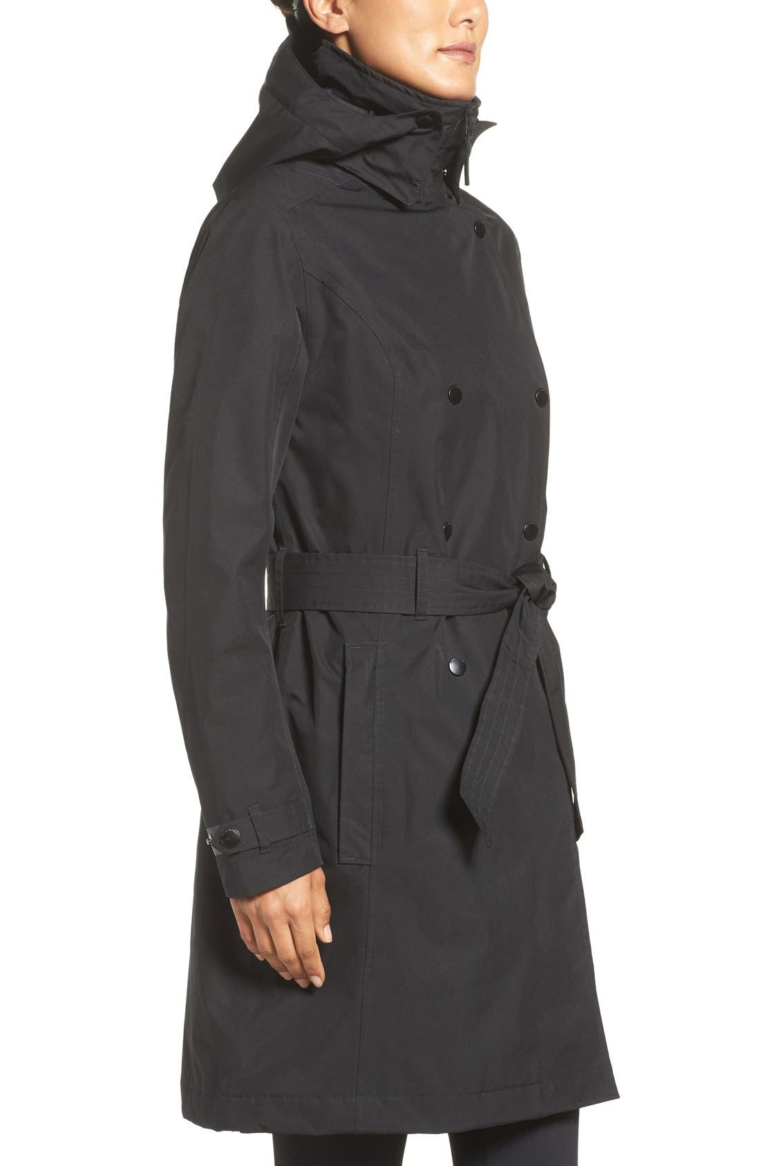 'Welsey' Insulated Waterproof Trench Coat,                             Alternate thumbnail 3, color,                             001