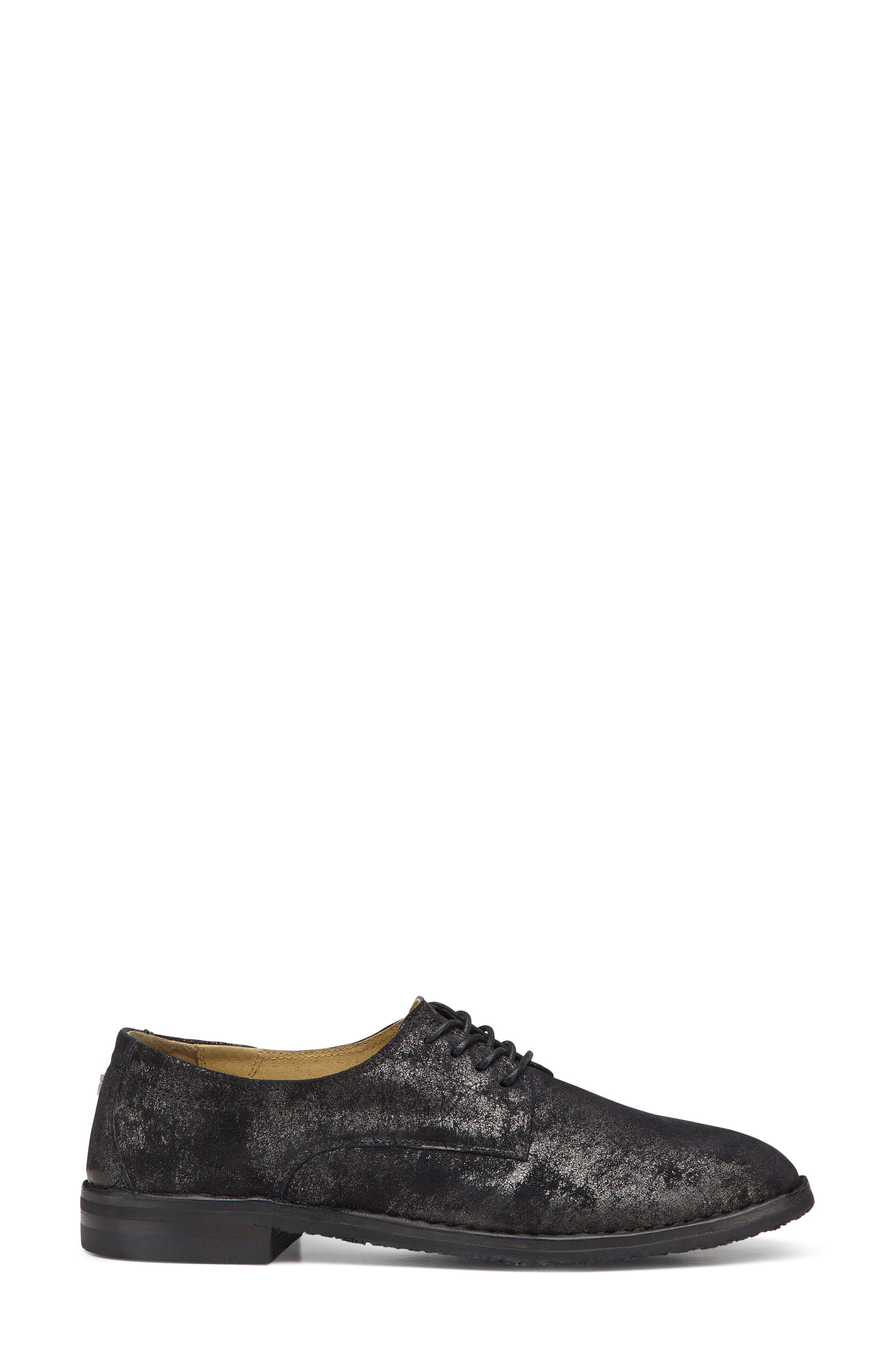 'Ana' Metallic Leather Oxford,                             Alternate thumbnail 3, color,                             BLACK SUEDE
