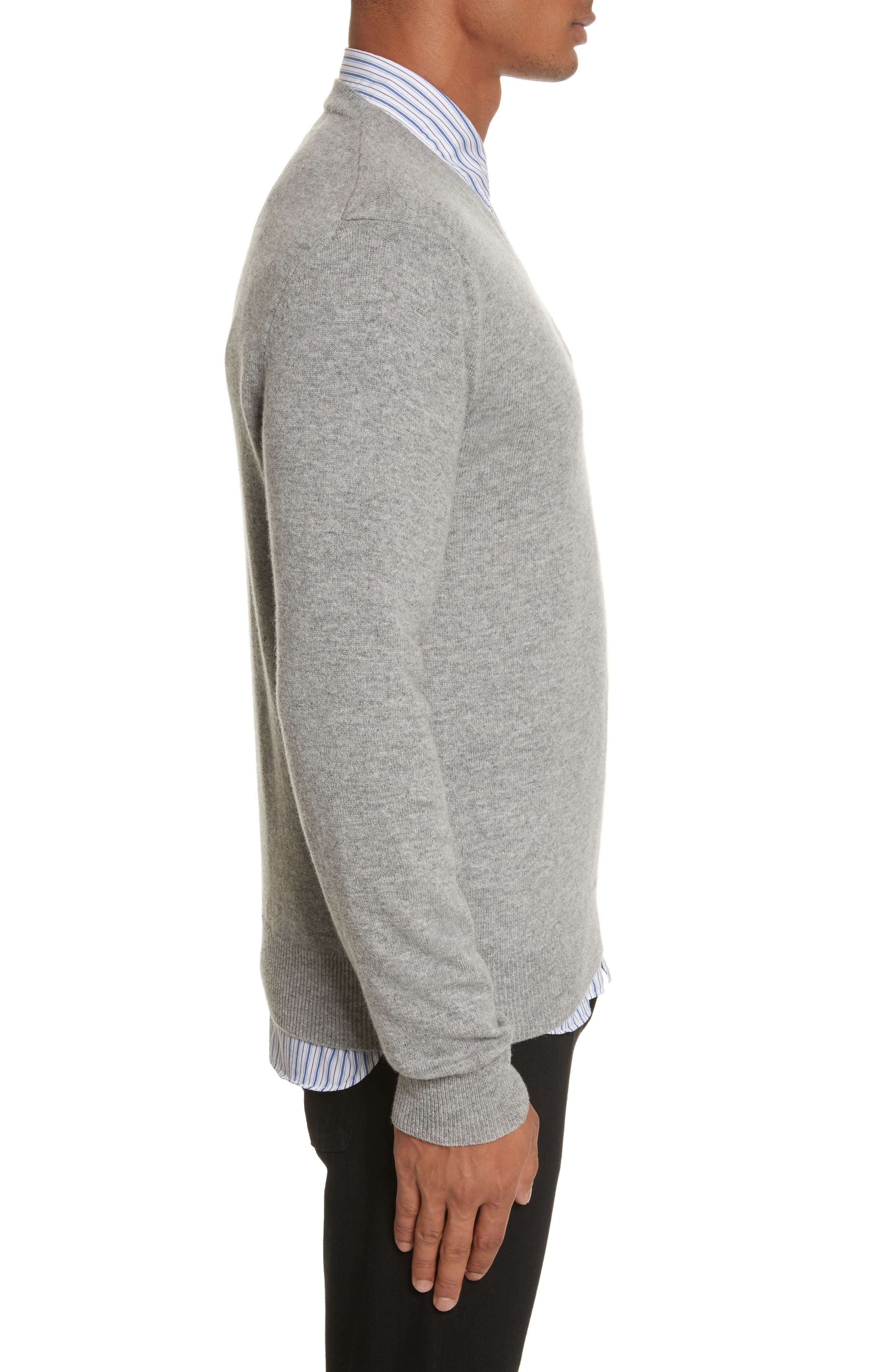 White Heart Wool V-Neck Sweater,                             Alternate thumbnail 3, color,                             LIGHT GREY