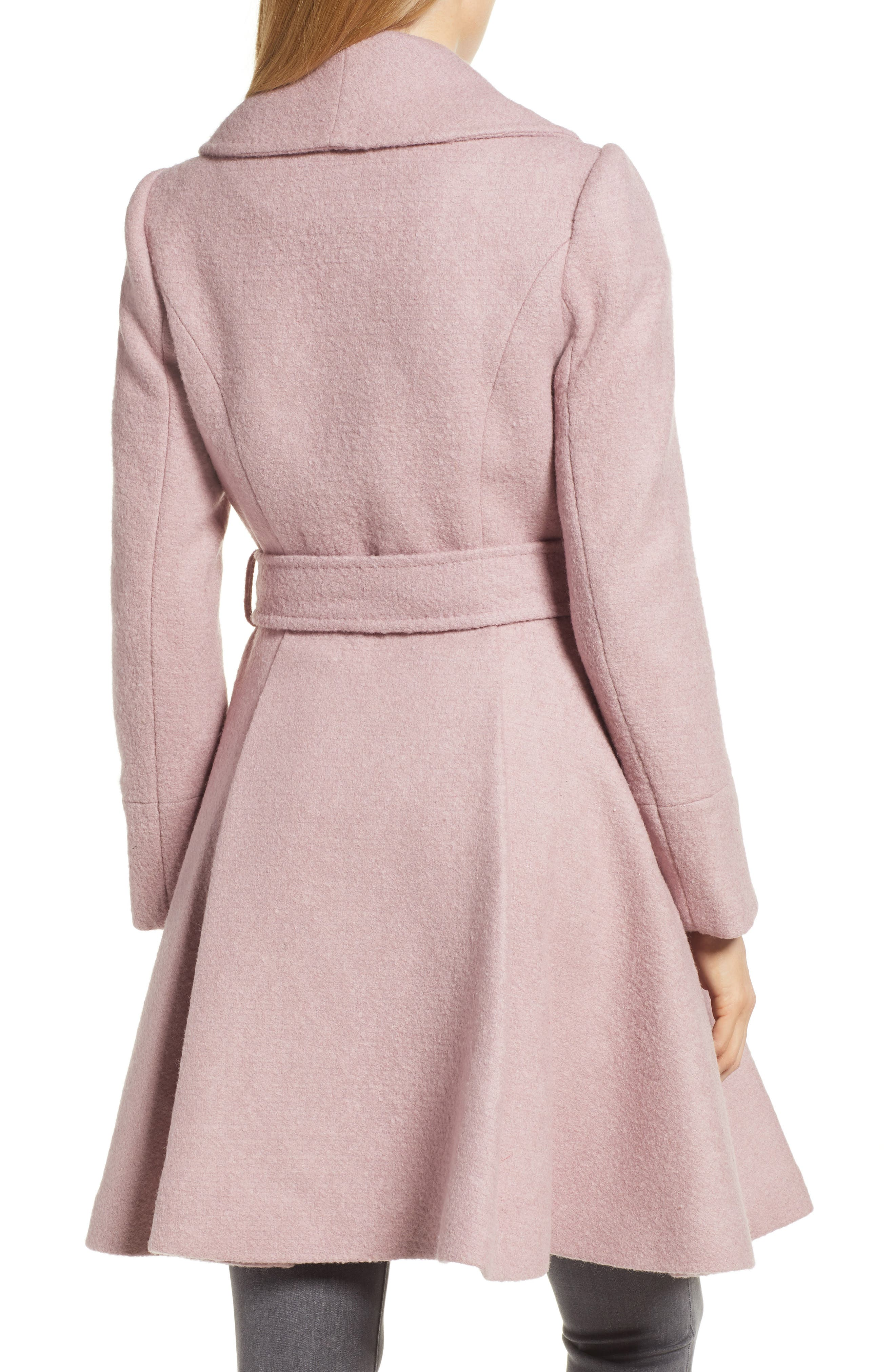 Faux Fur Cuff Skirted Coat,                             Alternate thumbnail 2, color,                             MID PINK