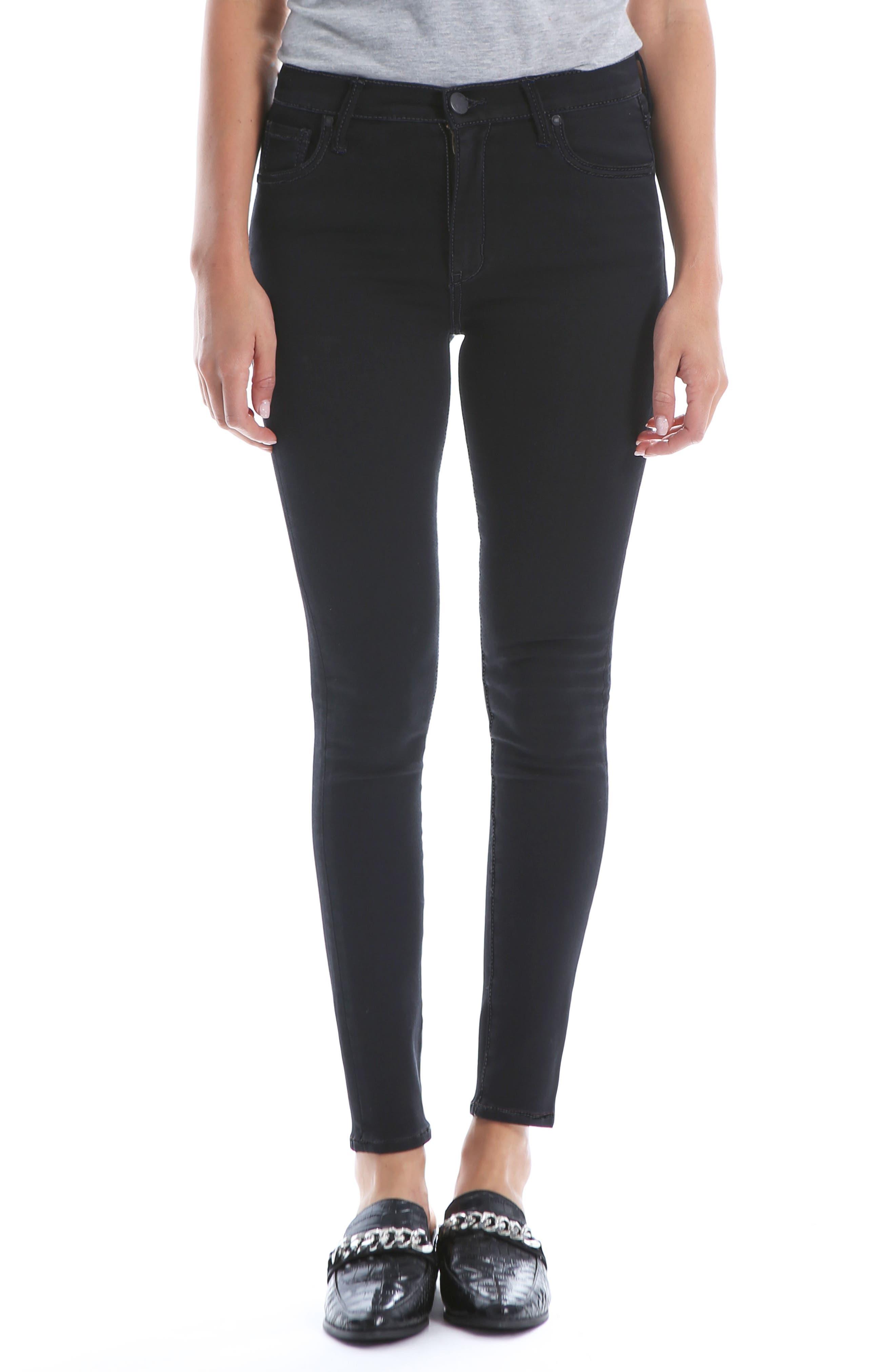 Mia High Waist Super Skinny Jeans,                         Main,                         color, BLACK