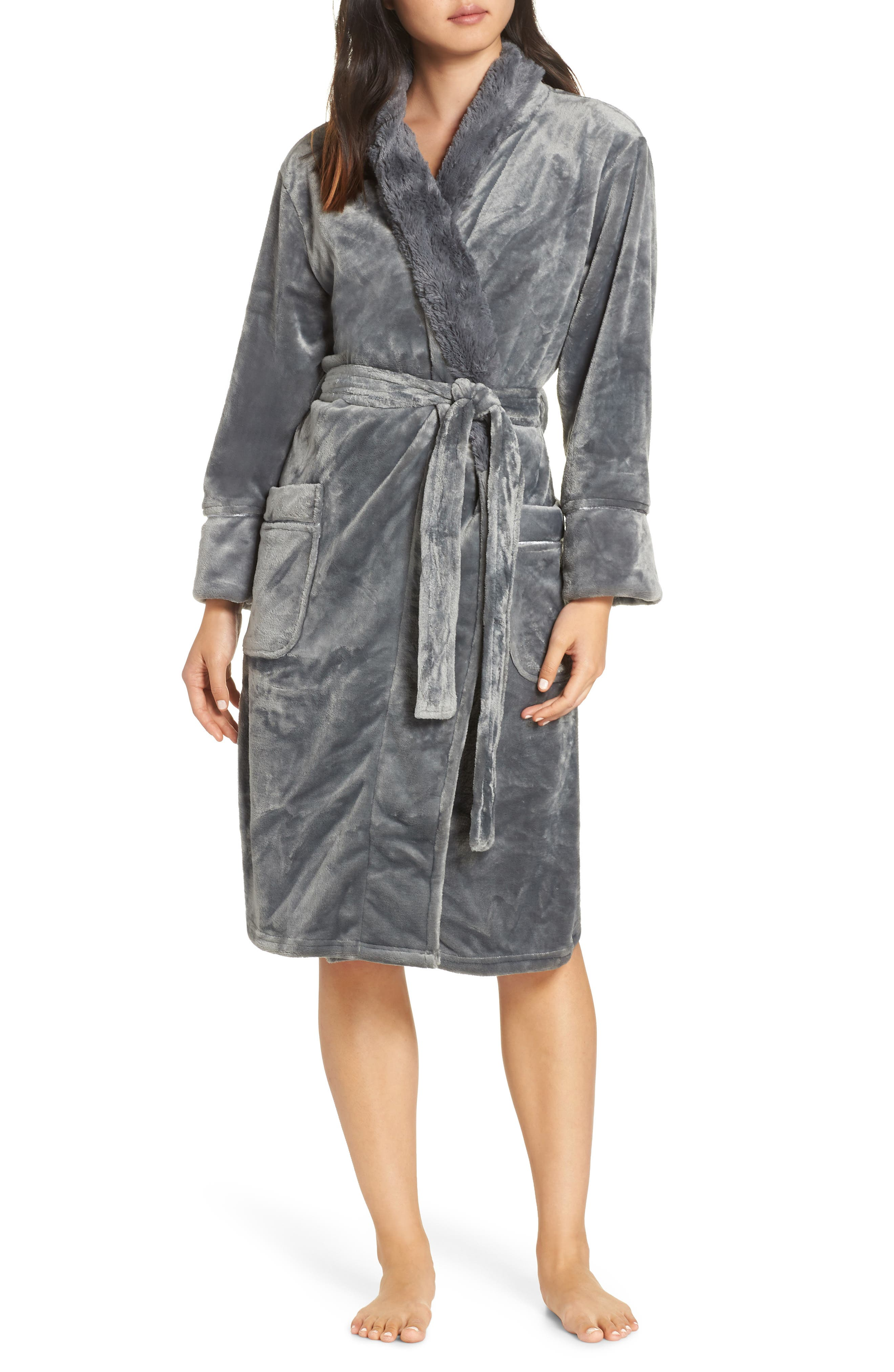 Luxe Faux Fur Robe, Main, color, GREY