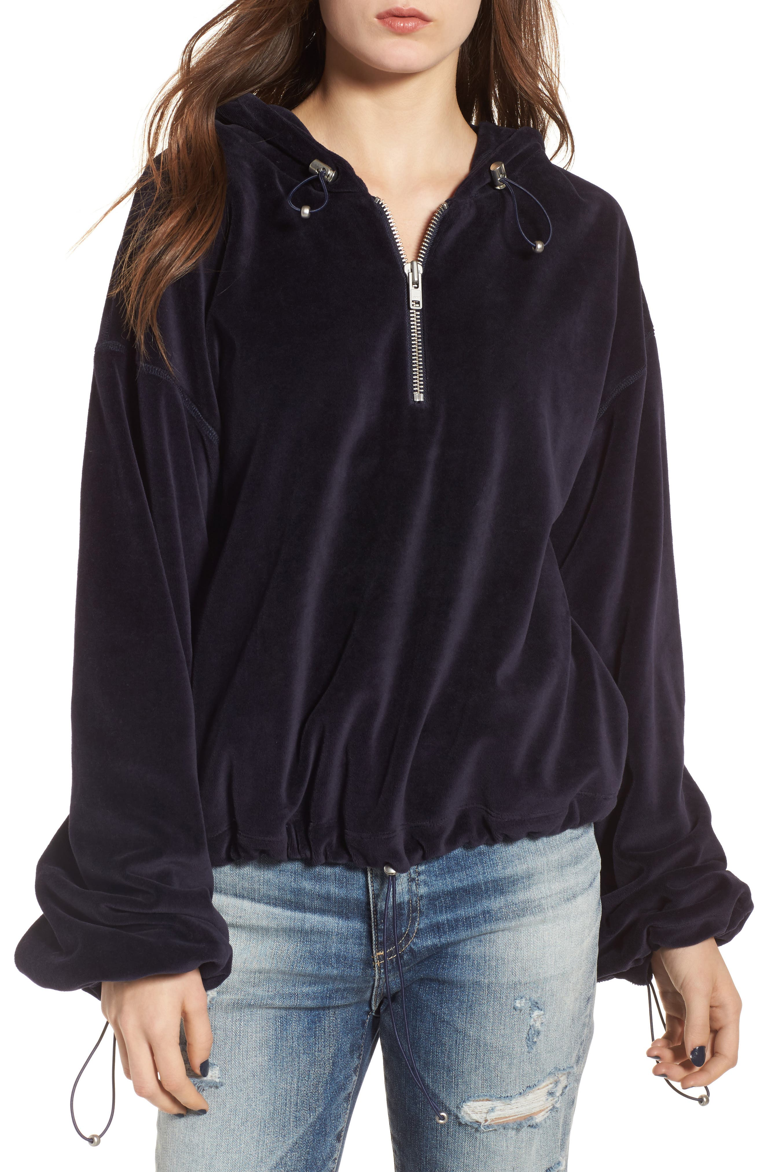 Oversize Velour Hoodie,                             Main thumbnail 1, color,                             001