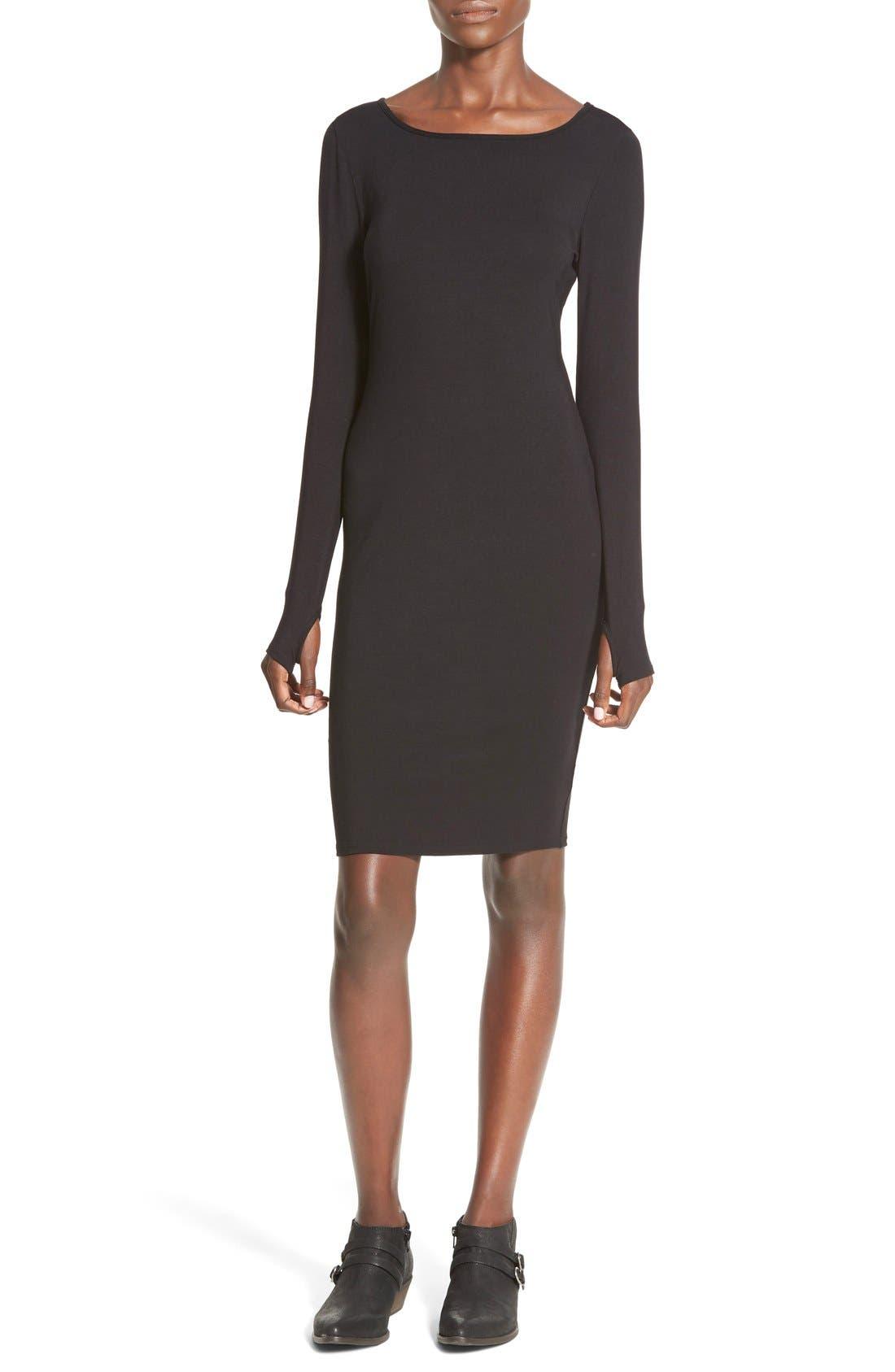 Stripe Long Sleeve Body-Con Dress,                             Main thumbnail 1, color,                             001