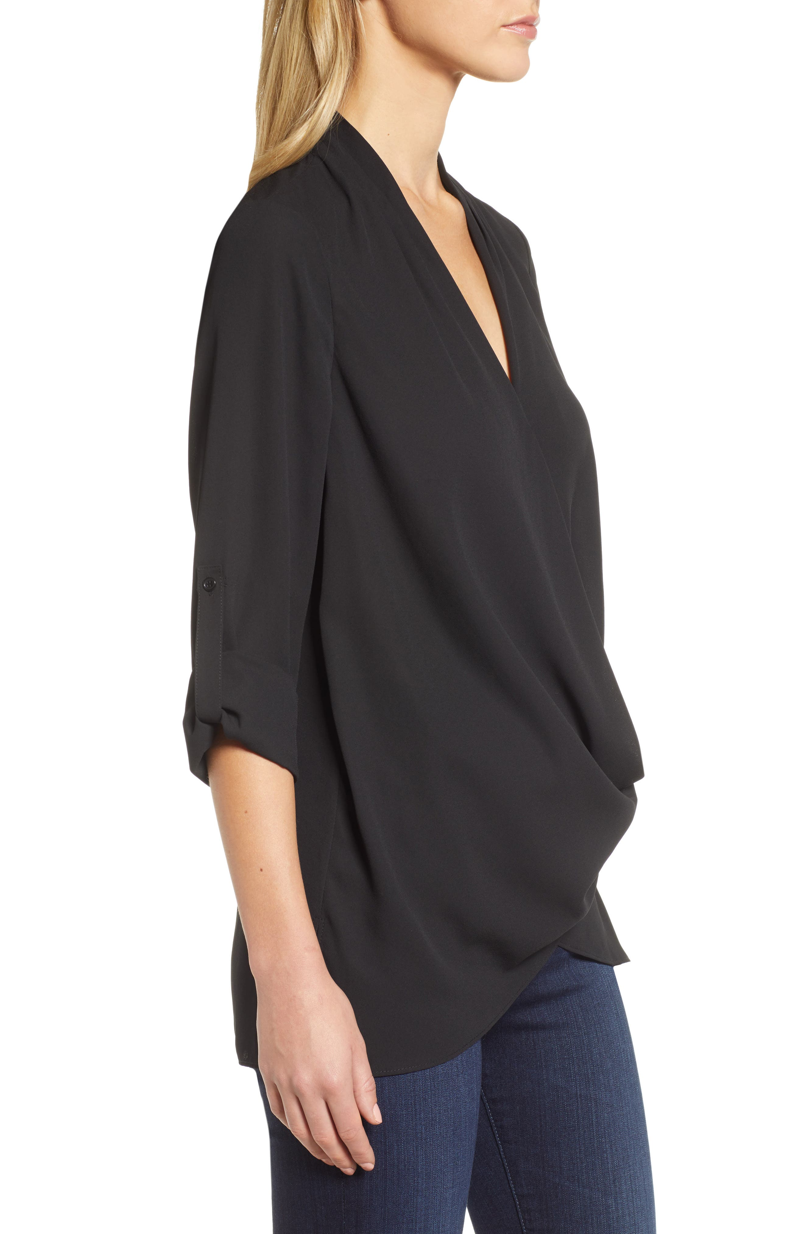 Side Drape Blouse,                             Alternate thumbnail 3, color,                             BLACK