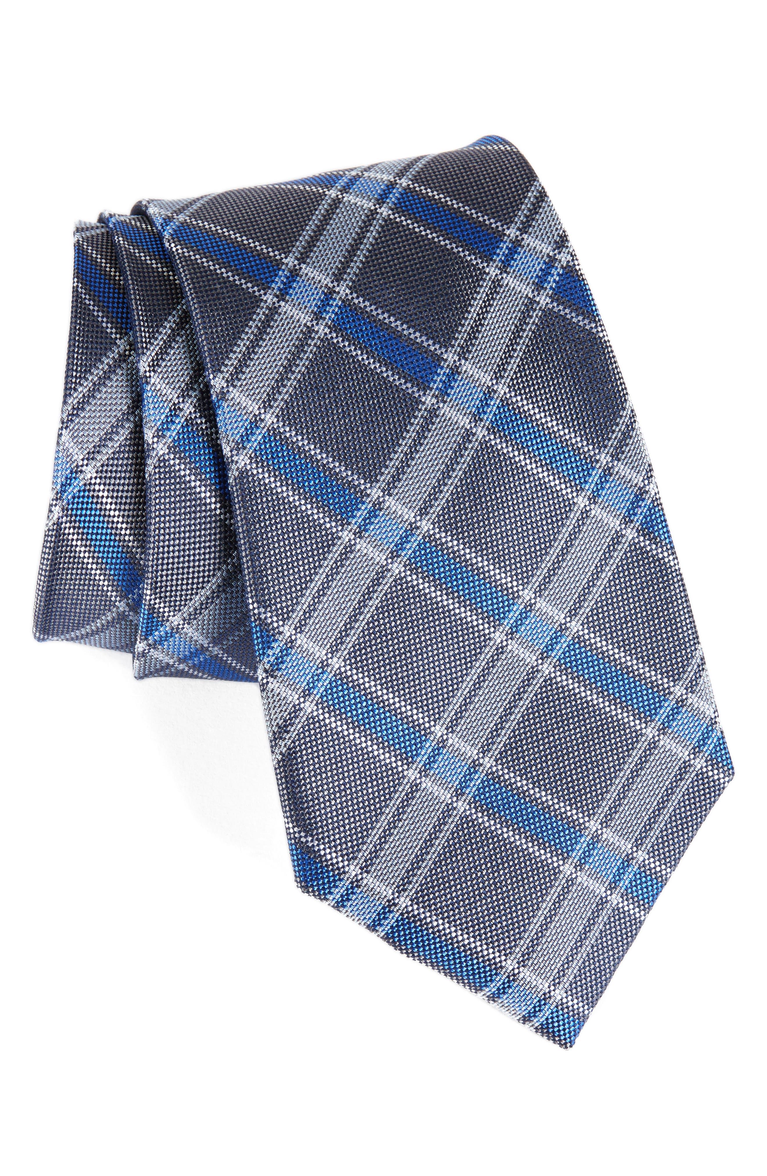 Oxford Plaid Silk Tie,                             Main thumbnail 1, color,                             020