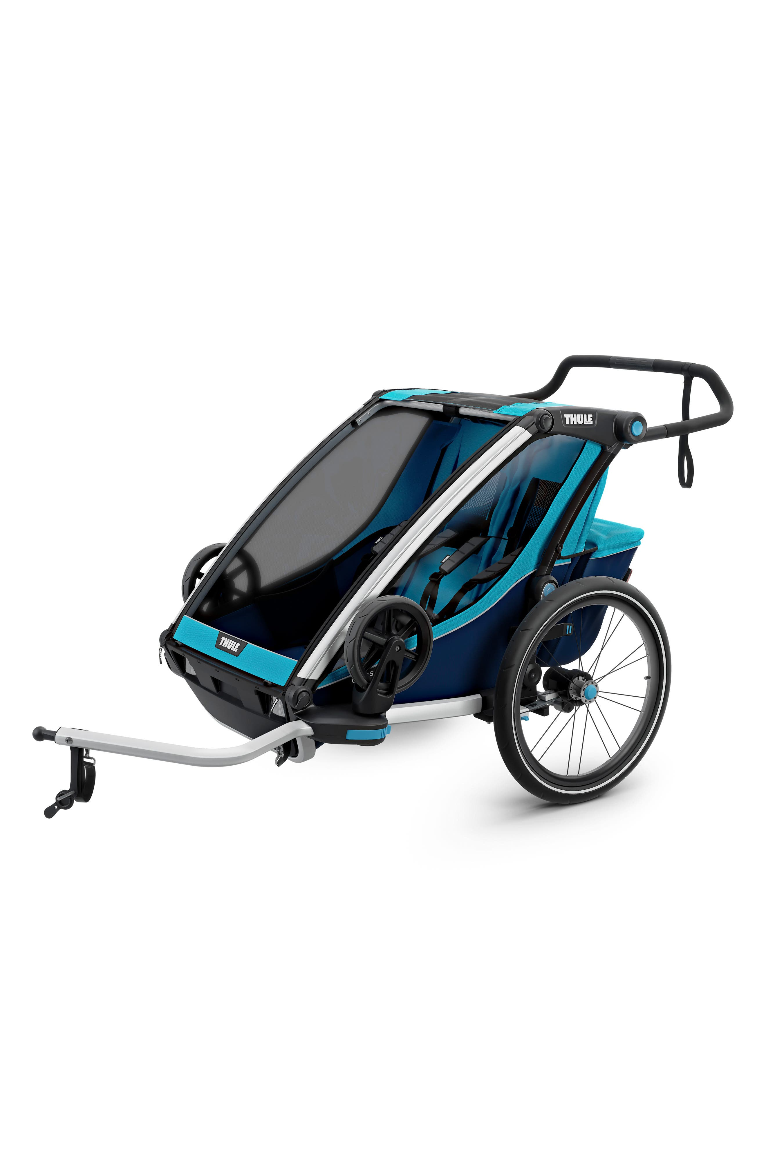 Chariot Cross 2 Multisport Double Cycle Trailer/Stroller,                             Alternate thumbnail 7, color,                             THULE BLUE