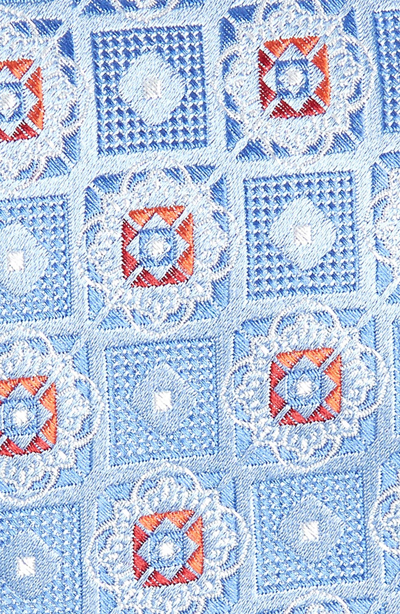 Megan Medallion Silk Tie,                             Alternate thumbnail 2, color,                             LIGHT BLUE