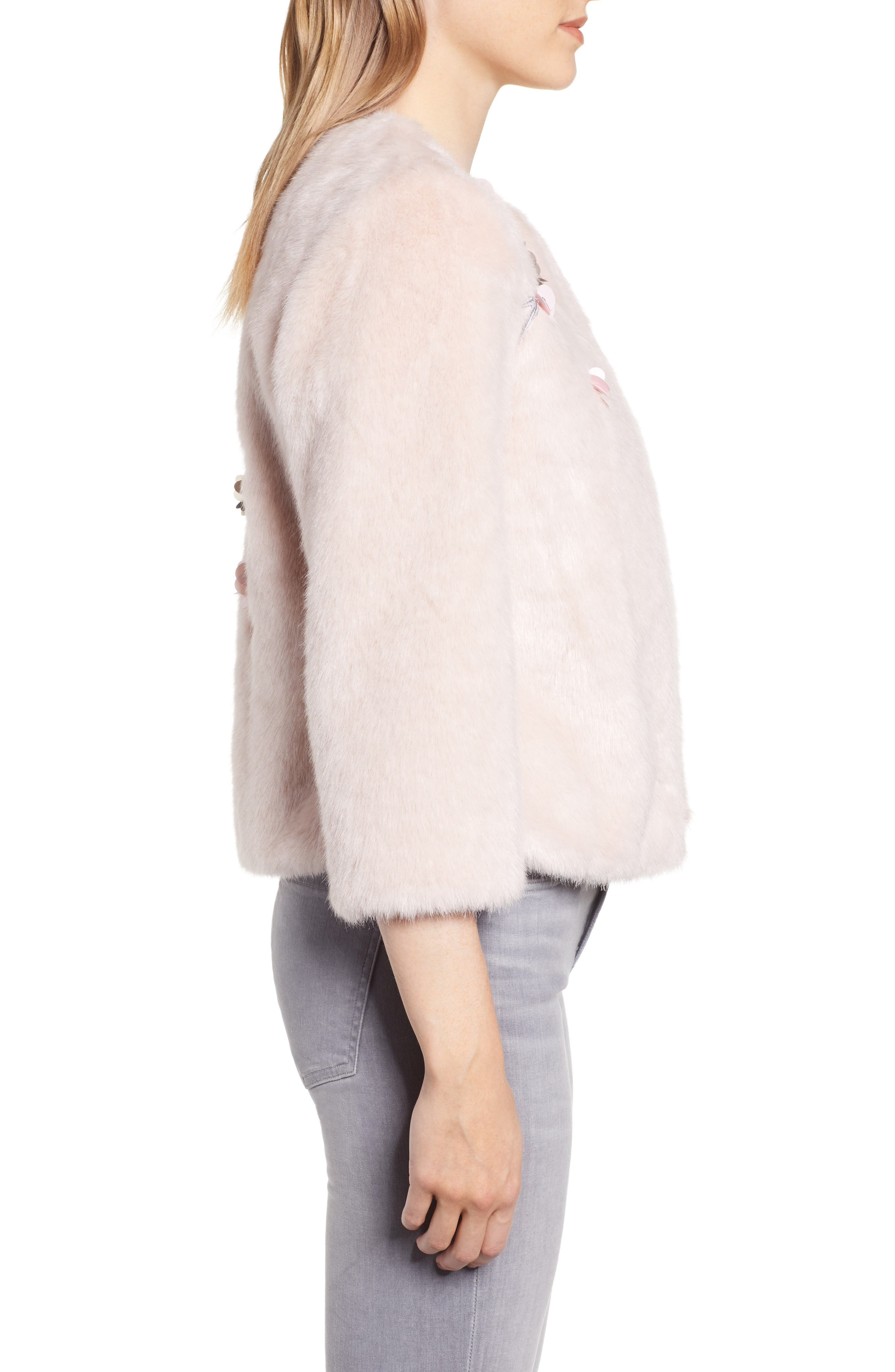Appliqué Embellished Faux Fur Crop Jacket,                             Alternate thumbnail 3, color,                             NUDE PINK