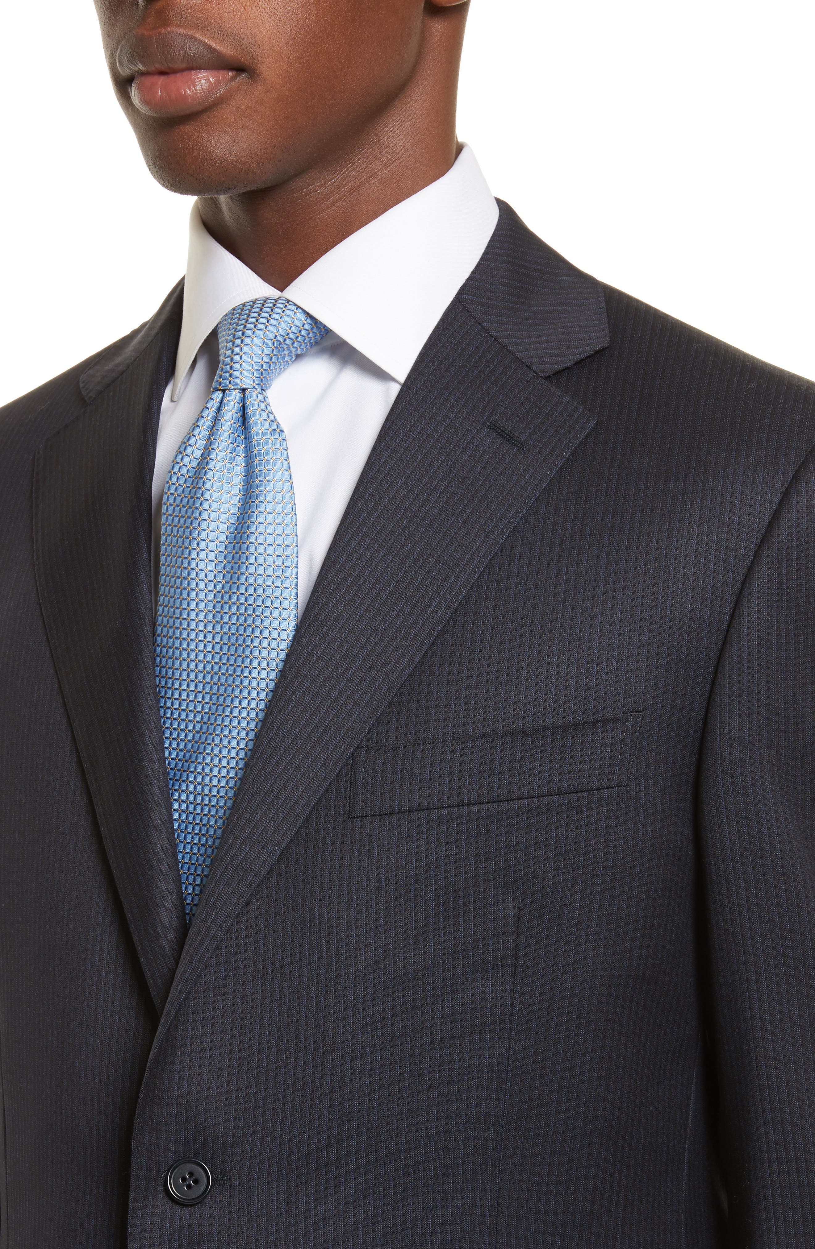 Classic Fit Stripe Wool Suit,                             Alternate thumbnail 4, color,                             400
