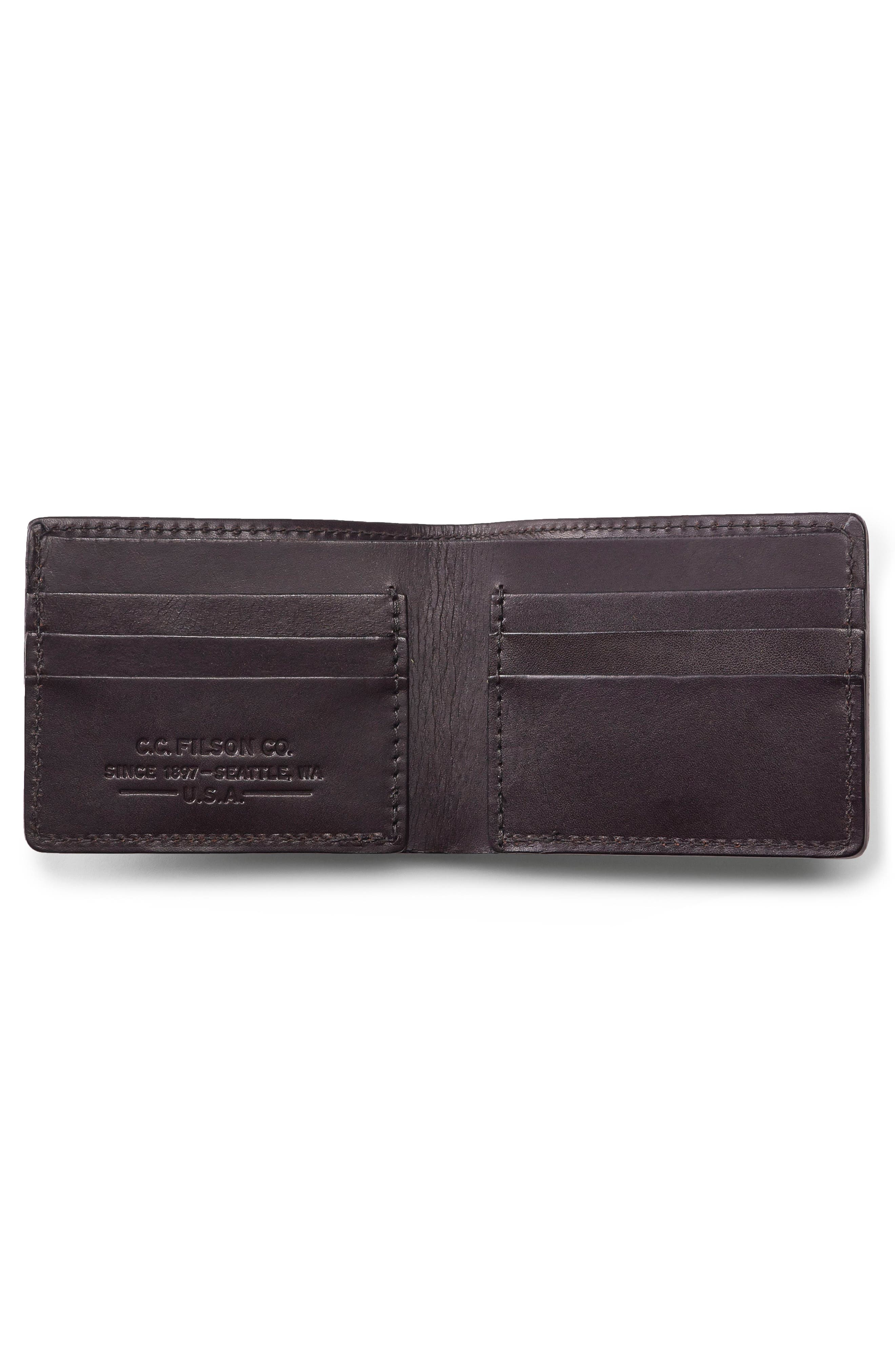Leather Bifold Leather Wallet,                             Alternate thumbnail 2, color,                             BROWN