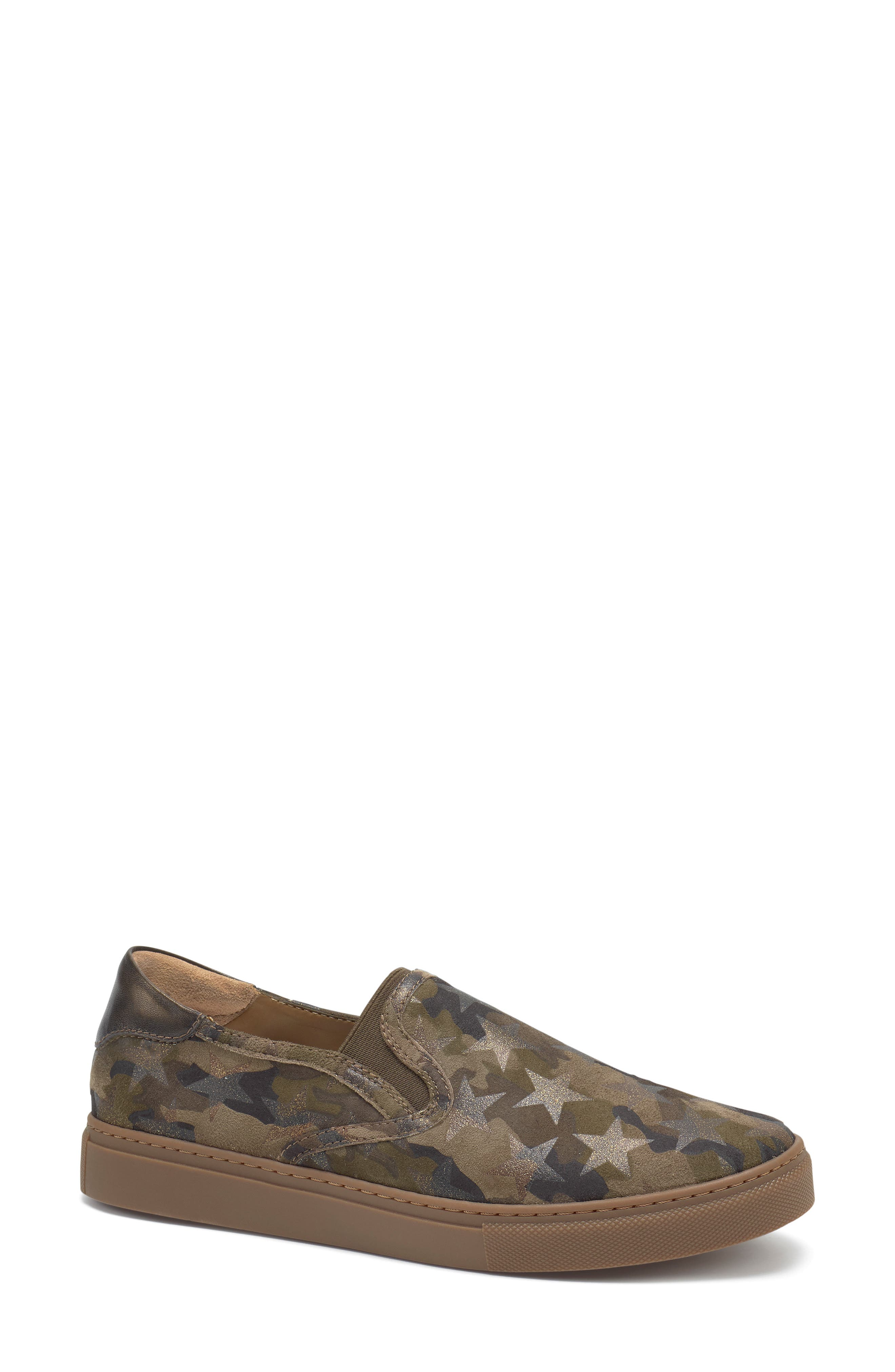 Lillian Water Resistant Slip-On Sneaker,                             Main thumbnail 1, color,                             OLIVE STAR PRINT SUEDE