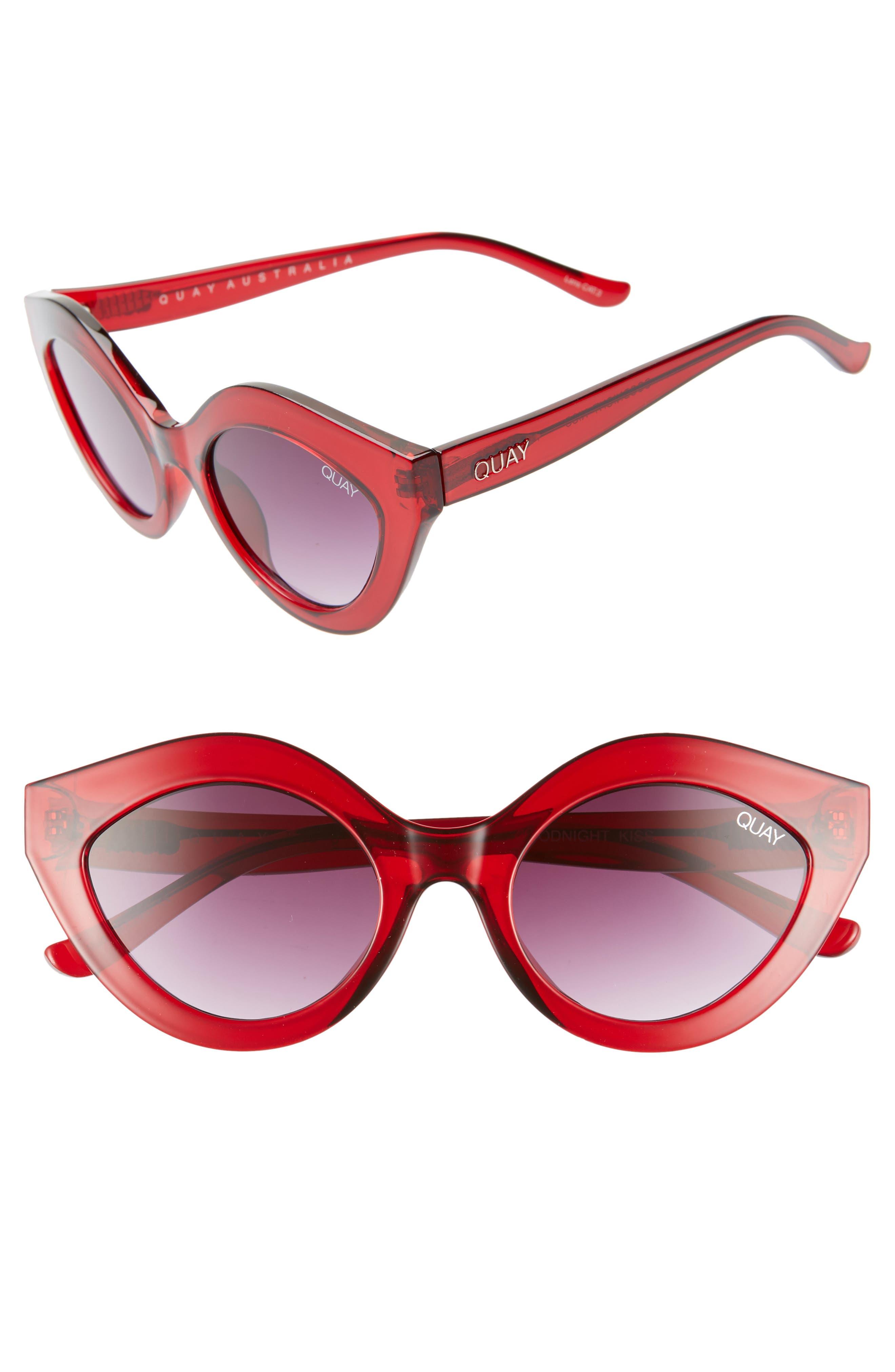 Quay Australia Goodnight Kiss Cat Eye Sunglasses - Red / Purple Fade
