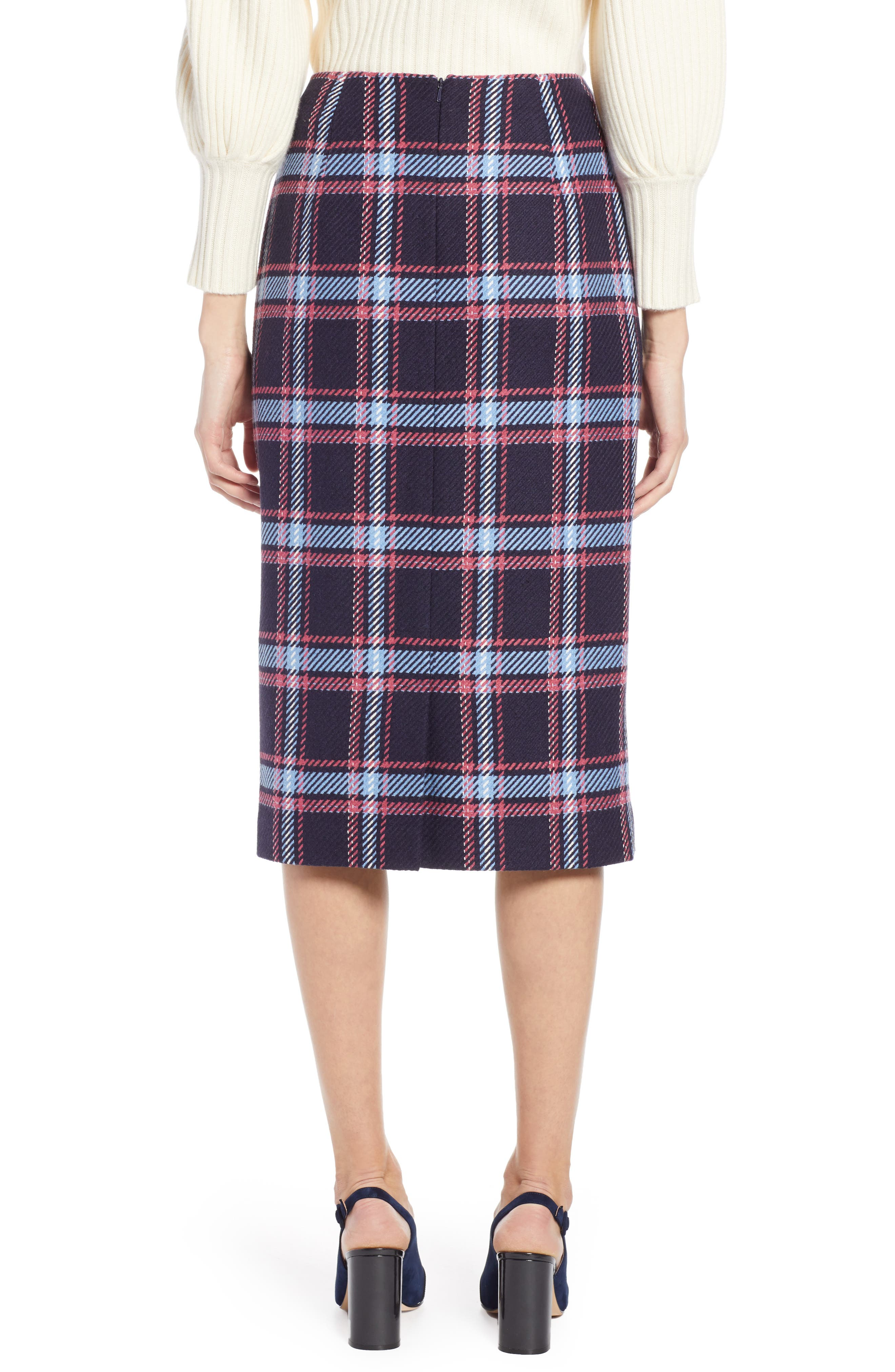 x Atlantic-Pacific Plaid Wrap Pencil Skirt,                             Alternate thumbnail 2, color,                             NAVY PLAID