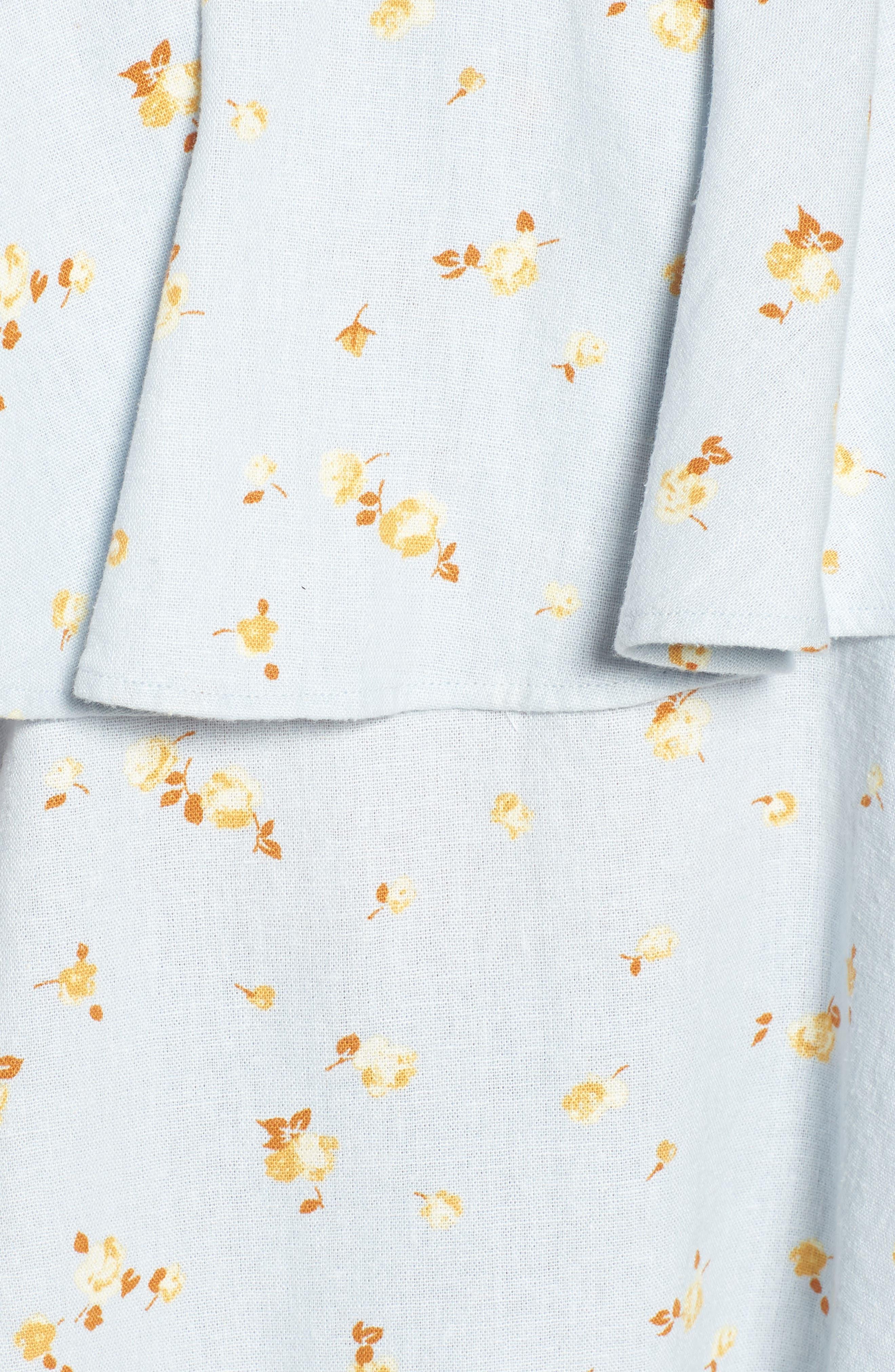 Tie Back Tiered Linen Blend Top,                             Alternate thumbnail 6, color,                             420