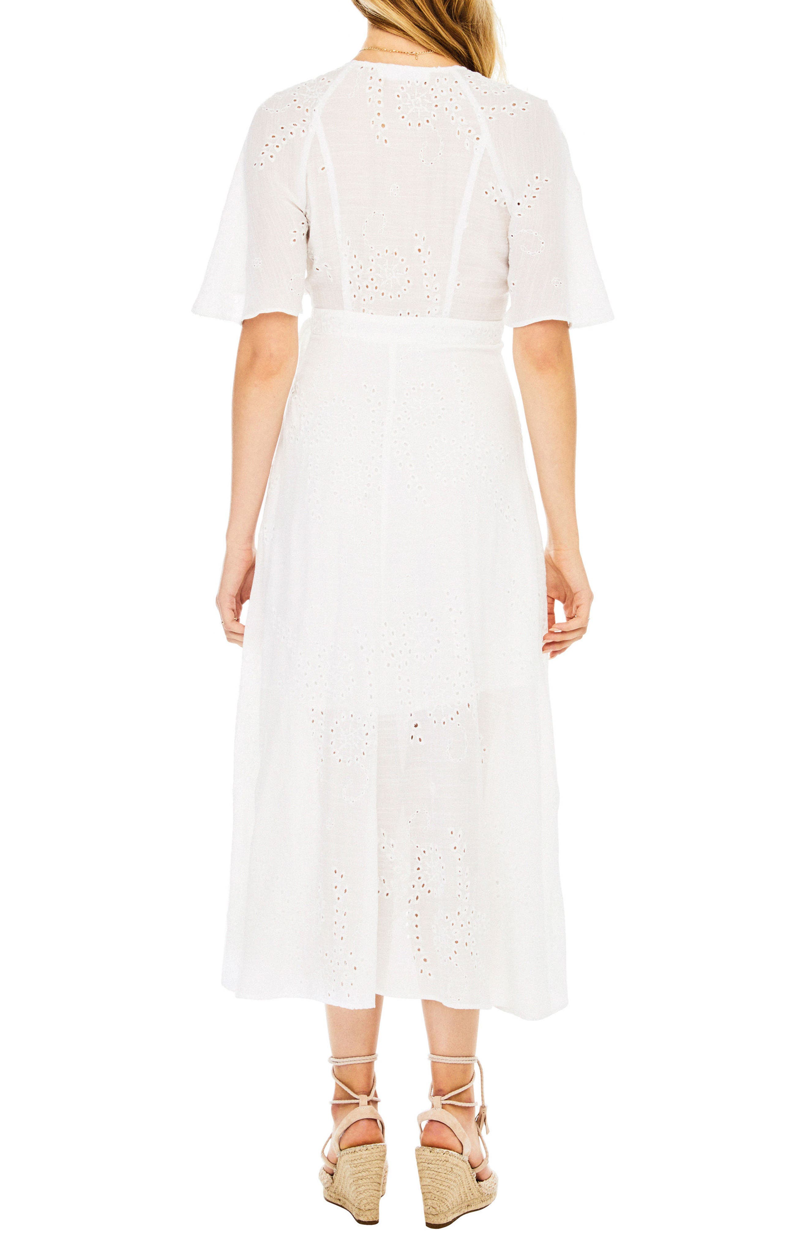 Gretchen Eyelet Wrap Dress,                             Alternate thumbnail 2, color,                             100