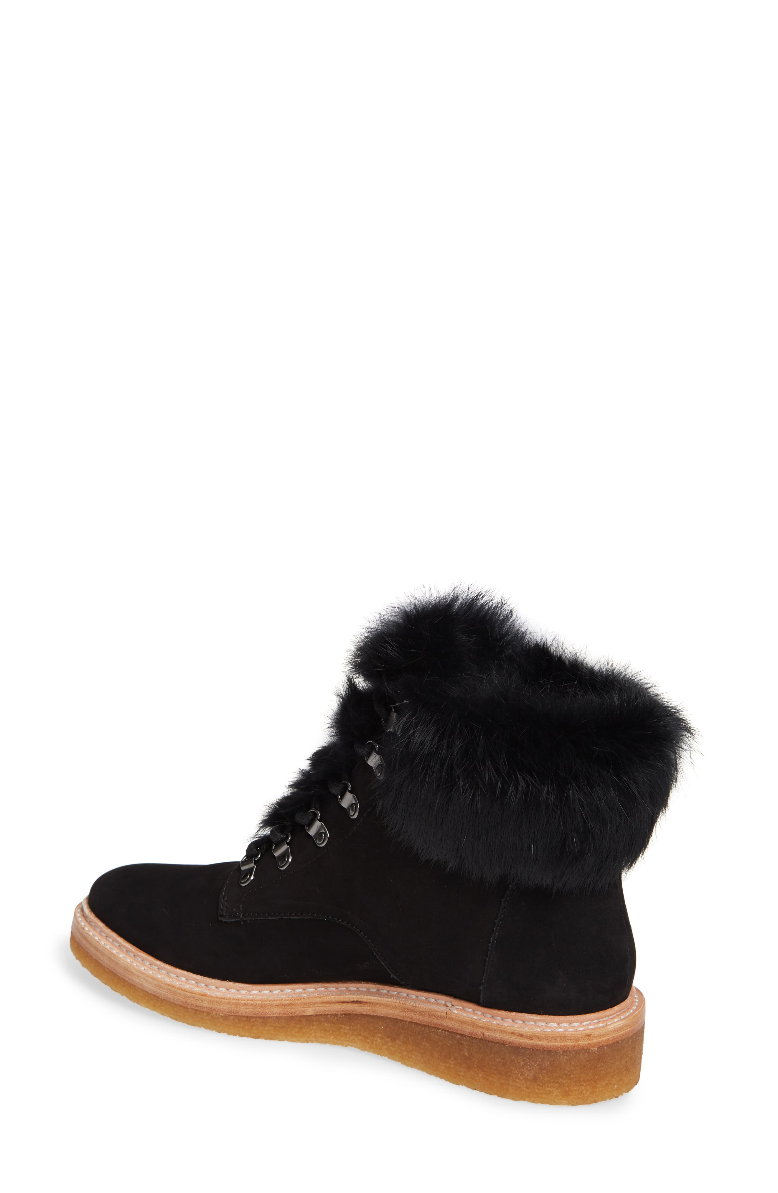 BOTKIER,                             Winter Genuine Rabbit Fur Trim Boot,                             Alternate thumbnail 2, color,                             BLACK SUEDE