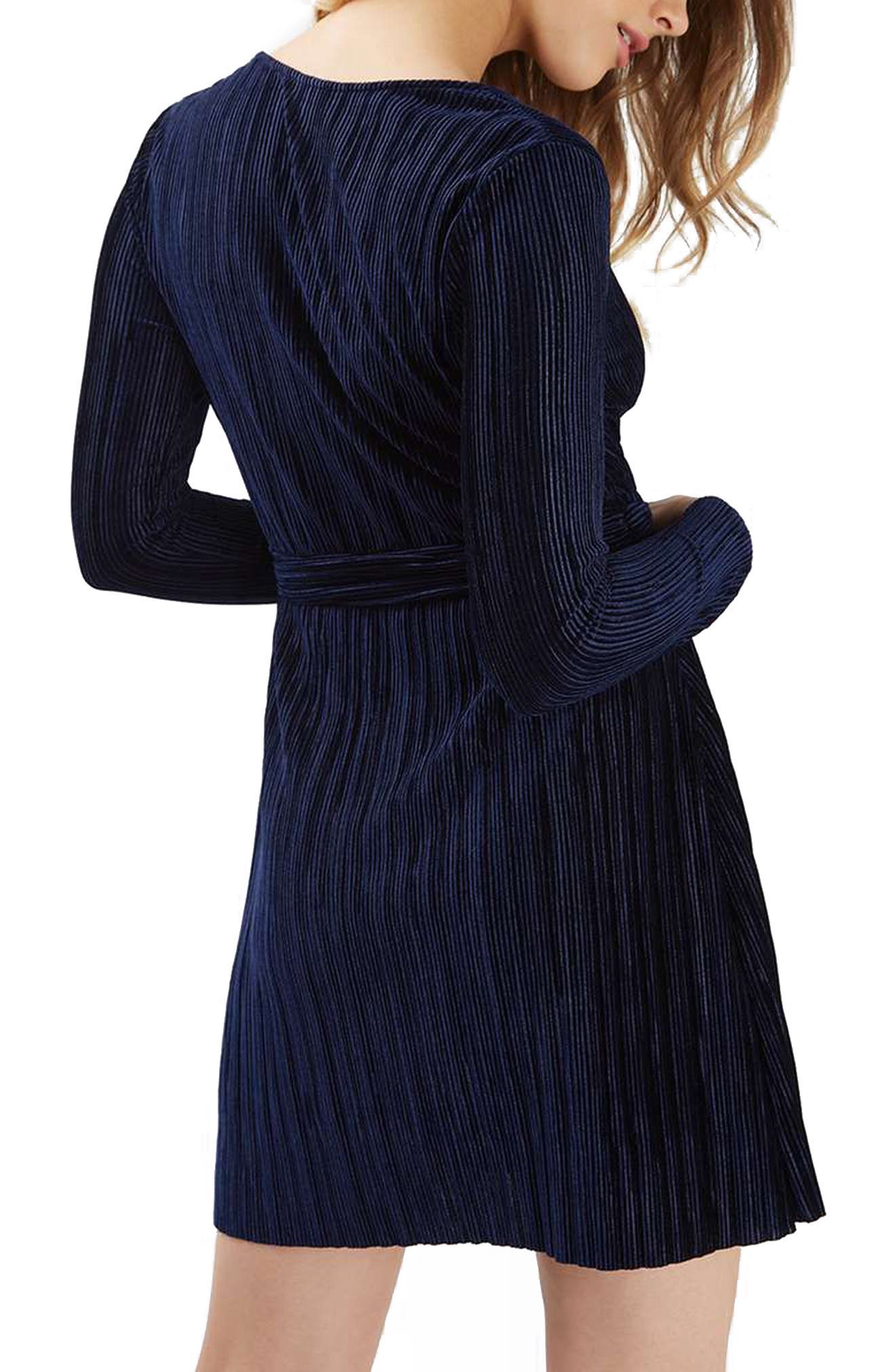 Velvet Wrap Dress,                             Alternate thumbnail 3, color,                             410