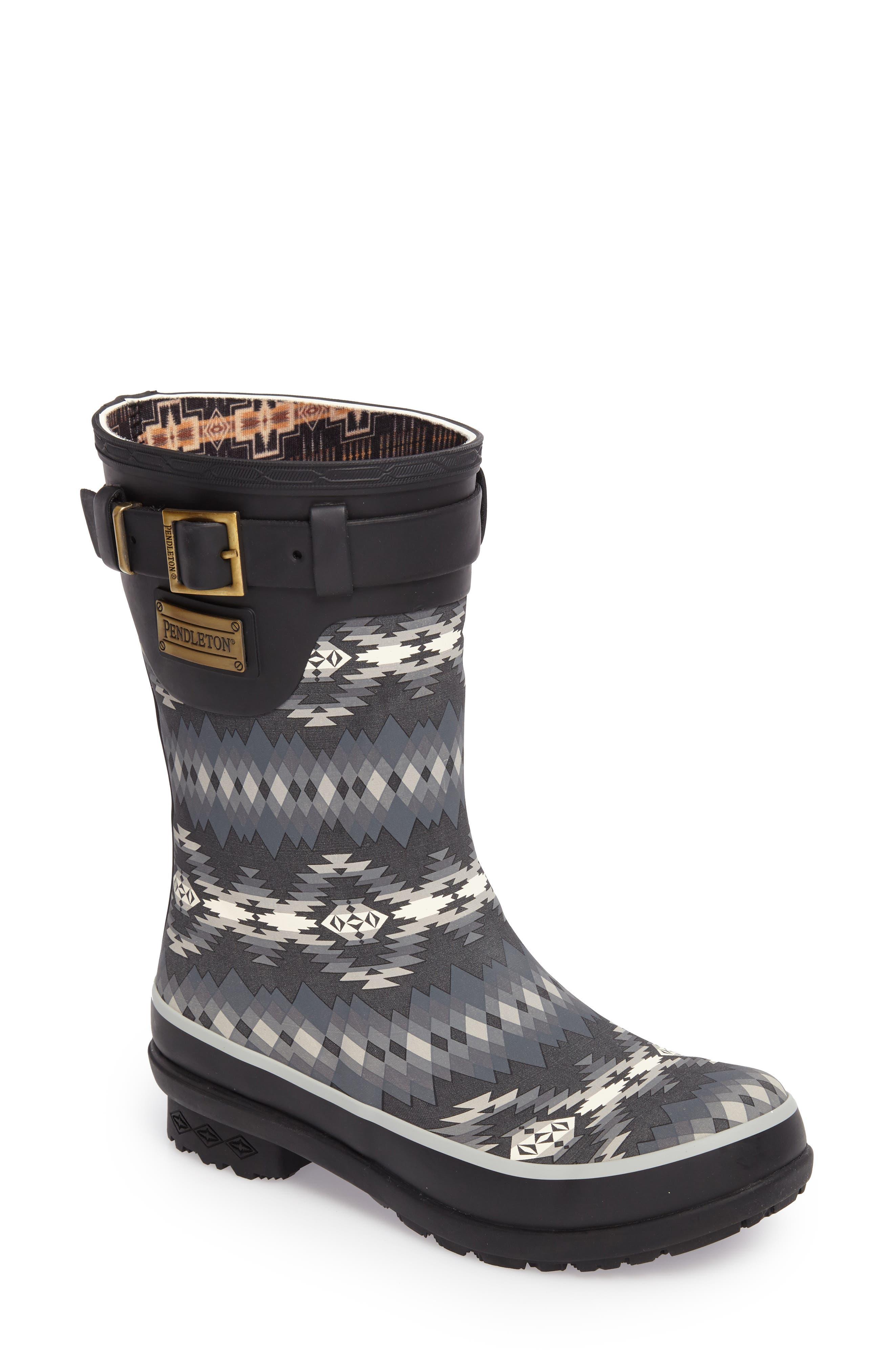 Pendleton Papago Park Short Rain Boot,                             Main thumbnail 1, color,                             BLACK
