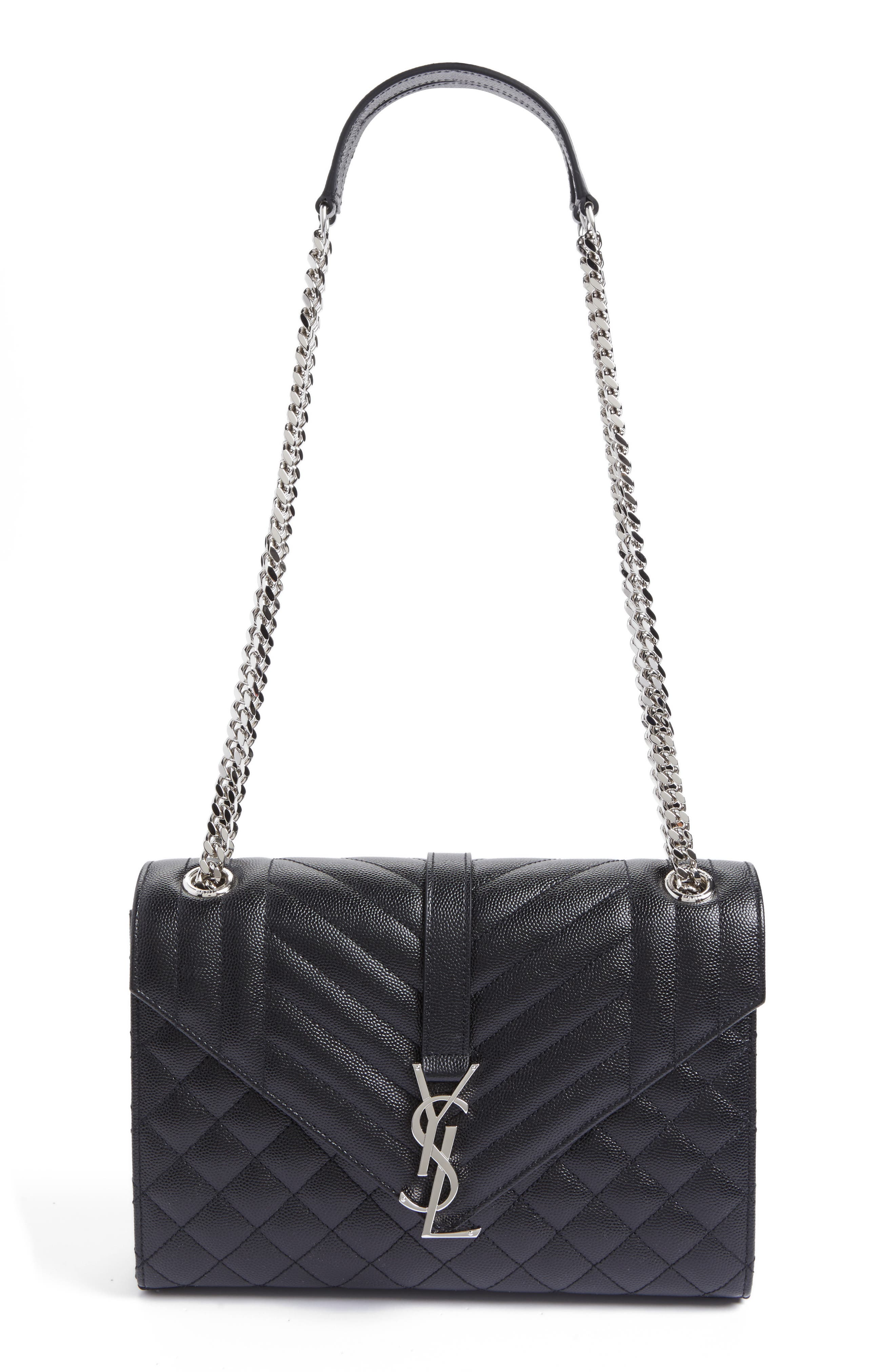 Medium Monogram Quilted Leather Shoulder Bag,                             Main thumbnail 1, color,                             NERO