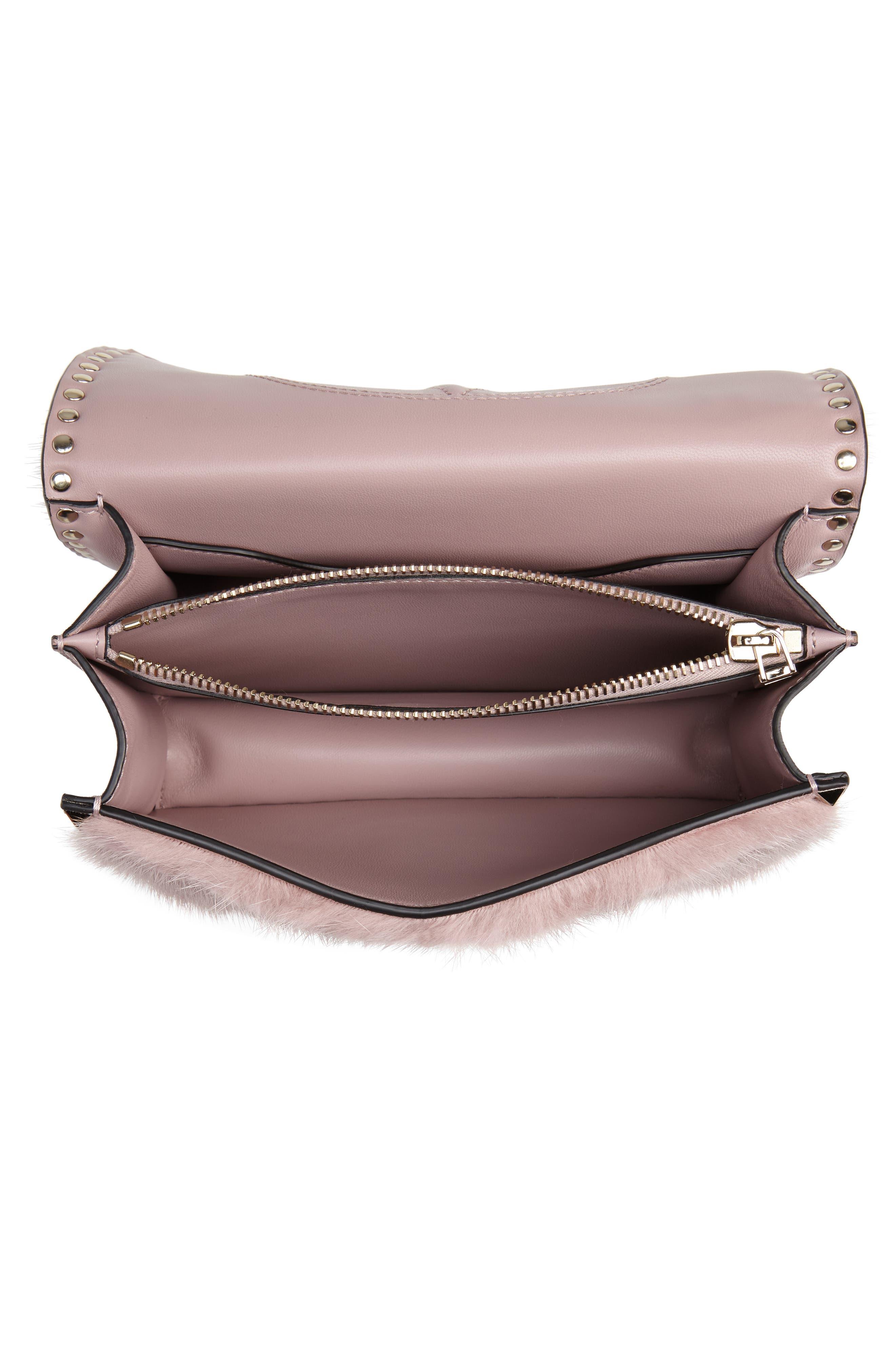 Small Rockstud Genuine Mink Fur Shoulder Bag,                             Alternate thumbnail 4, color,                             LIP