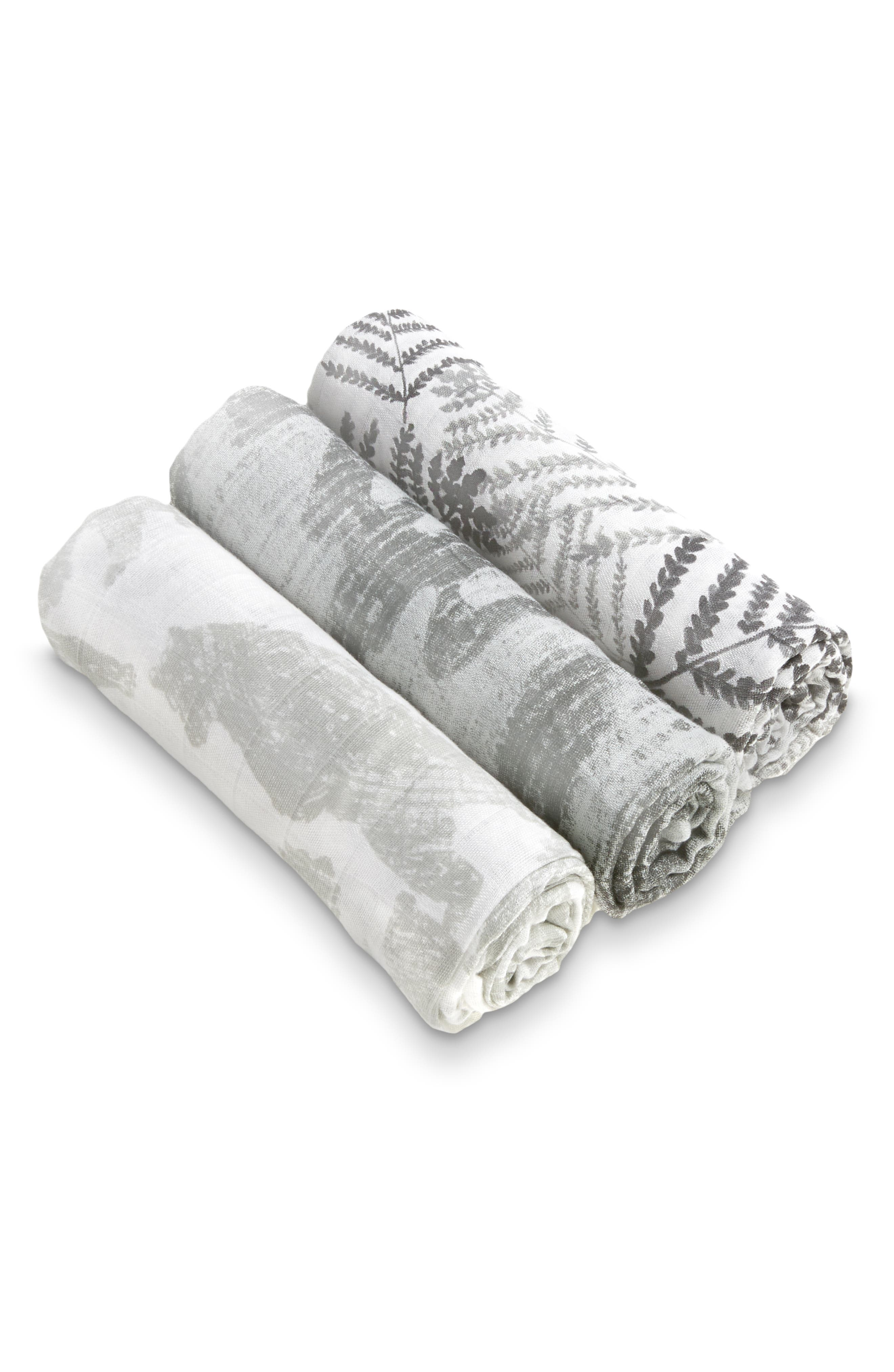3-Pack Silky Soft Swaddling Cloths,                             Main thumbnail 1, color,                             FORAGERS