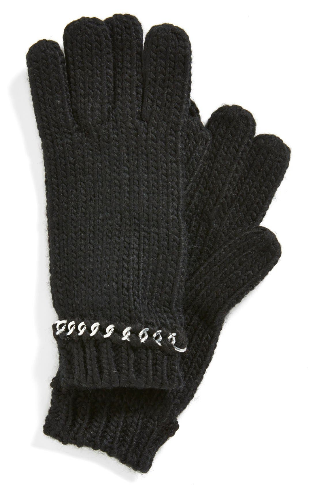 MICHAEL MICHAEL KORS Chain Cuff Gloves, Main, color, 001