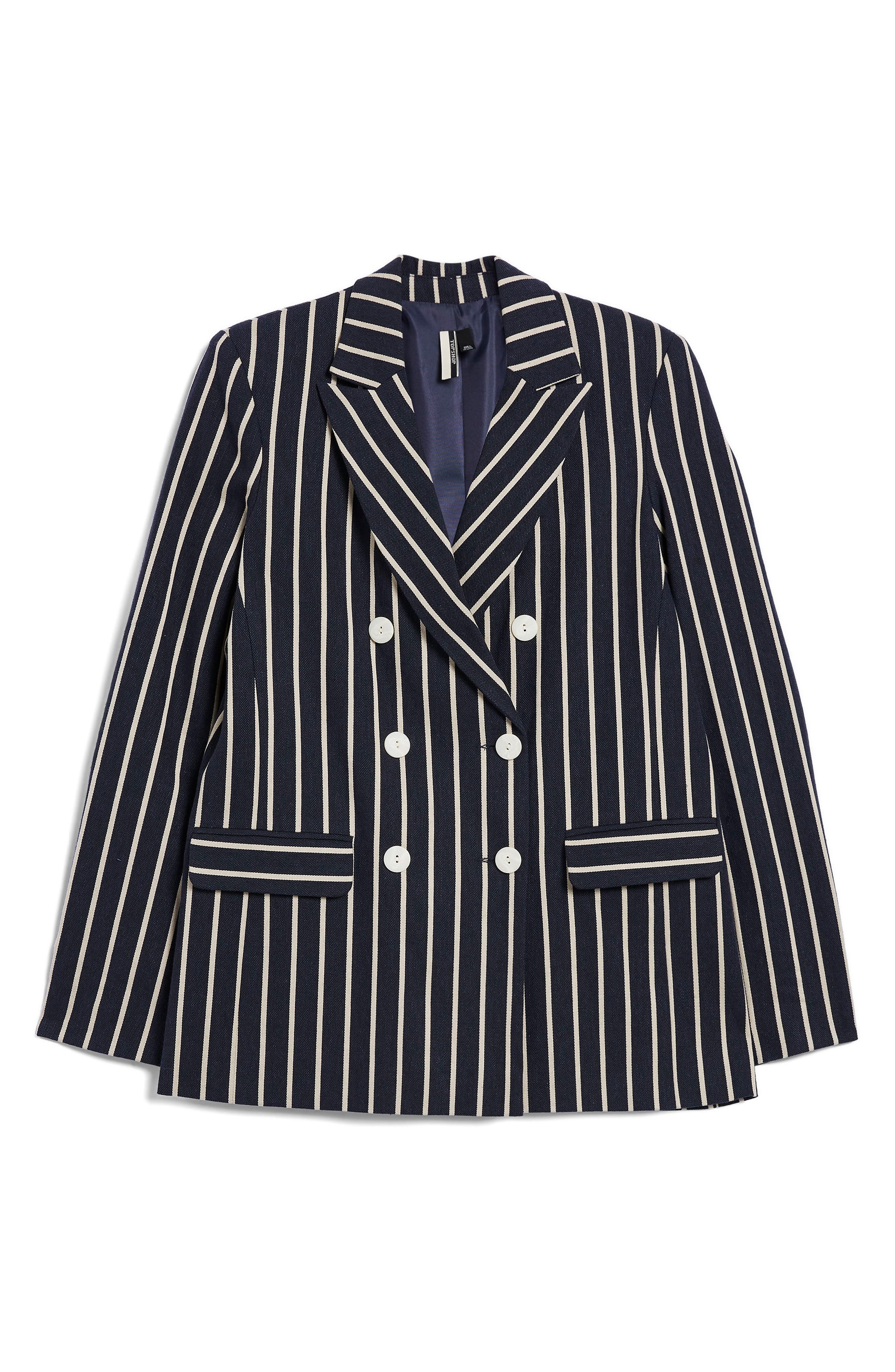 Stripe Double Breasted Jacket,                             Alternate thumbnail 4, color,