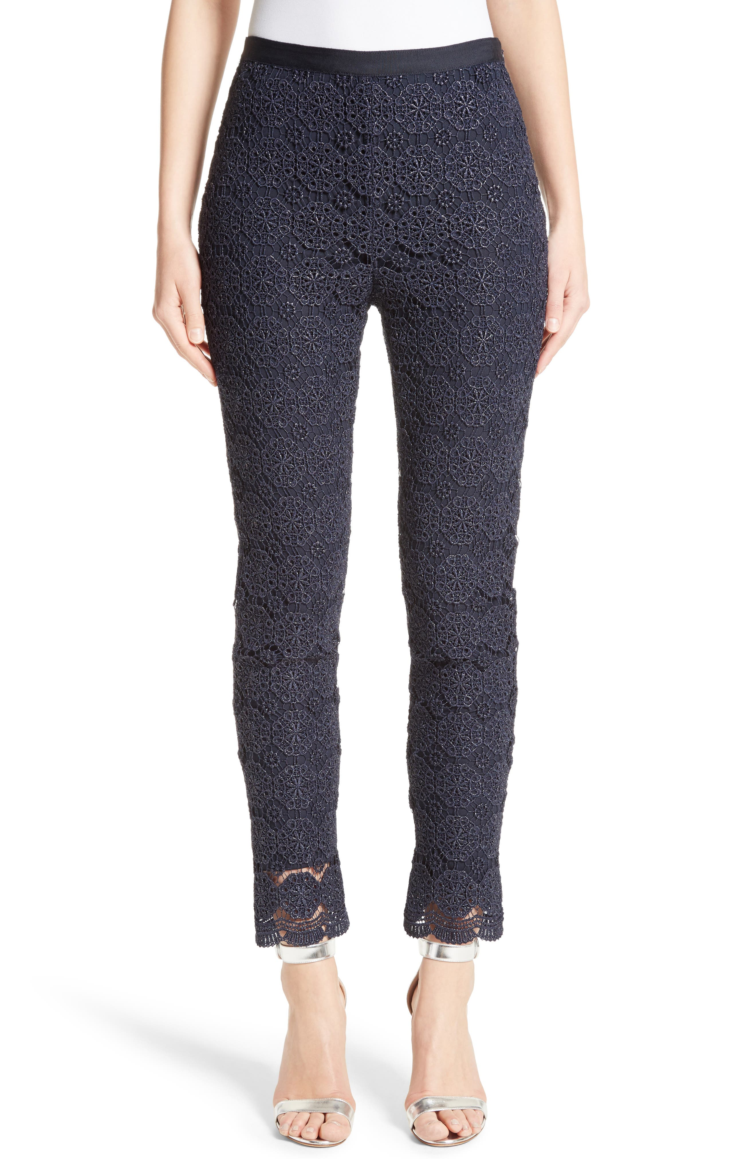 Metallic Guipure Lace Pants,                             Main thumbnail 1, color,                             410
