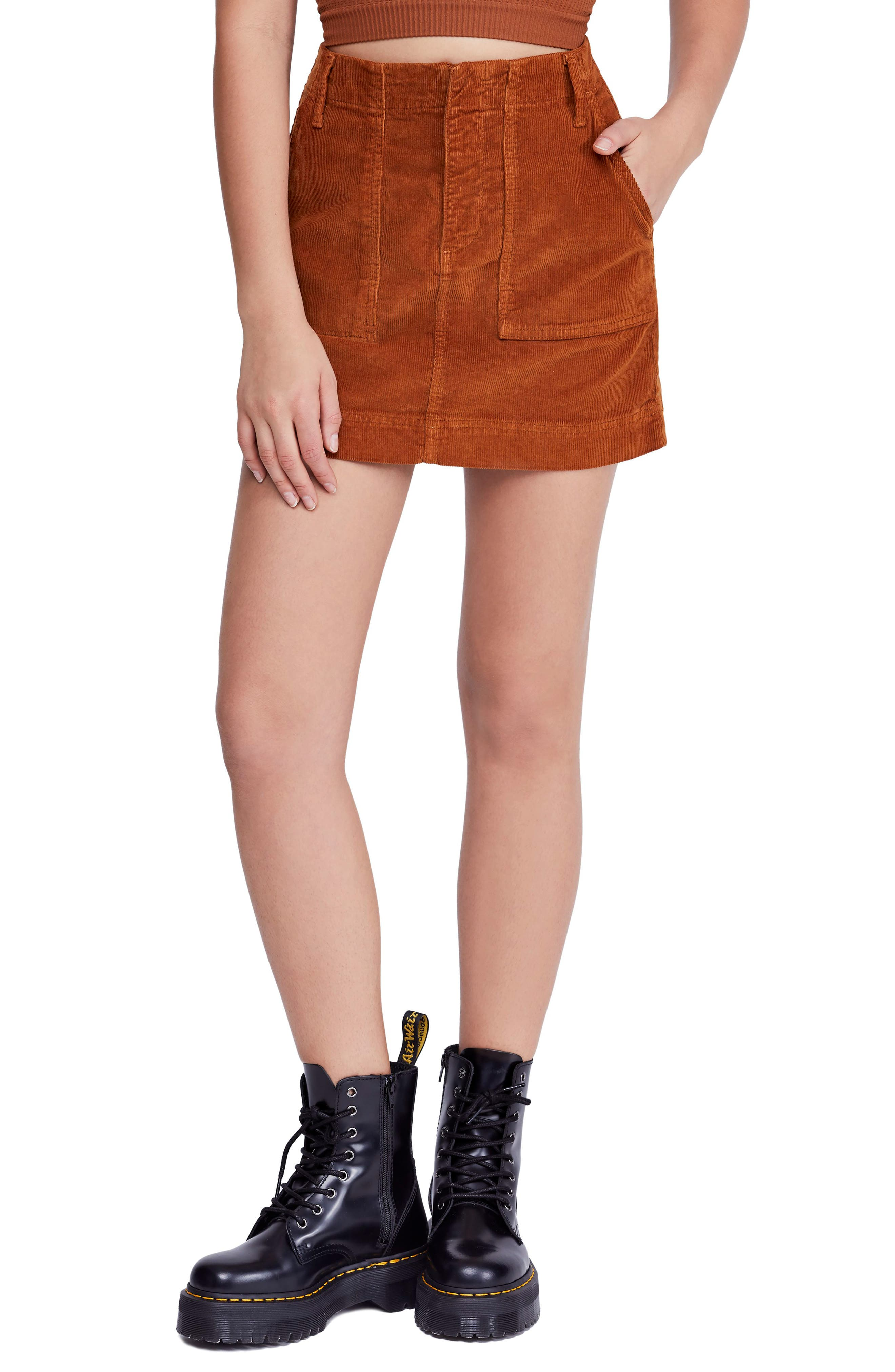 Bdg Urban Outfitters Corduroy Utility Skirt, Brown