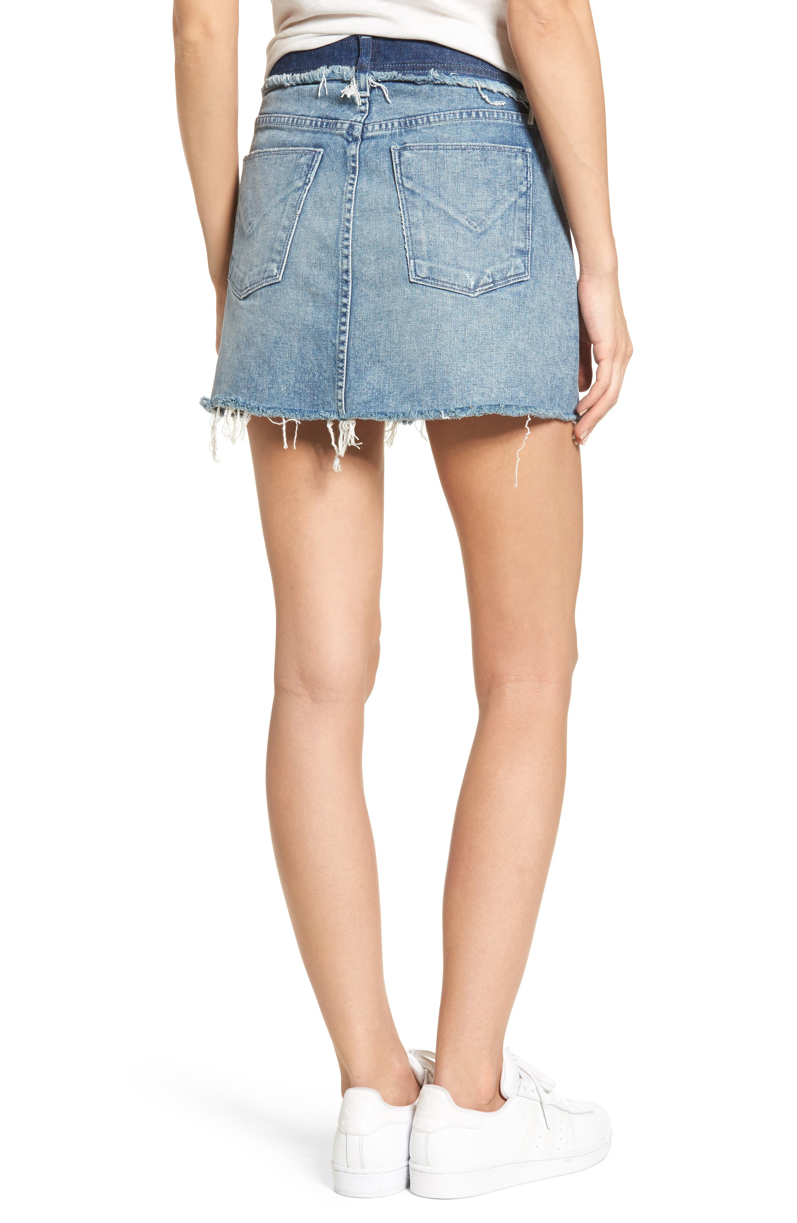 Vivid Cutoff Denim Miniskirt,                             Alternate thumbnail 2, color,                             401