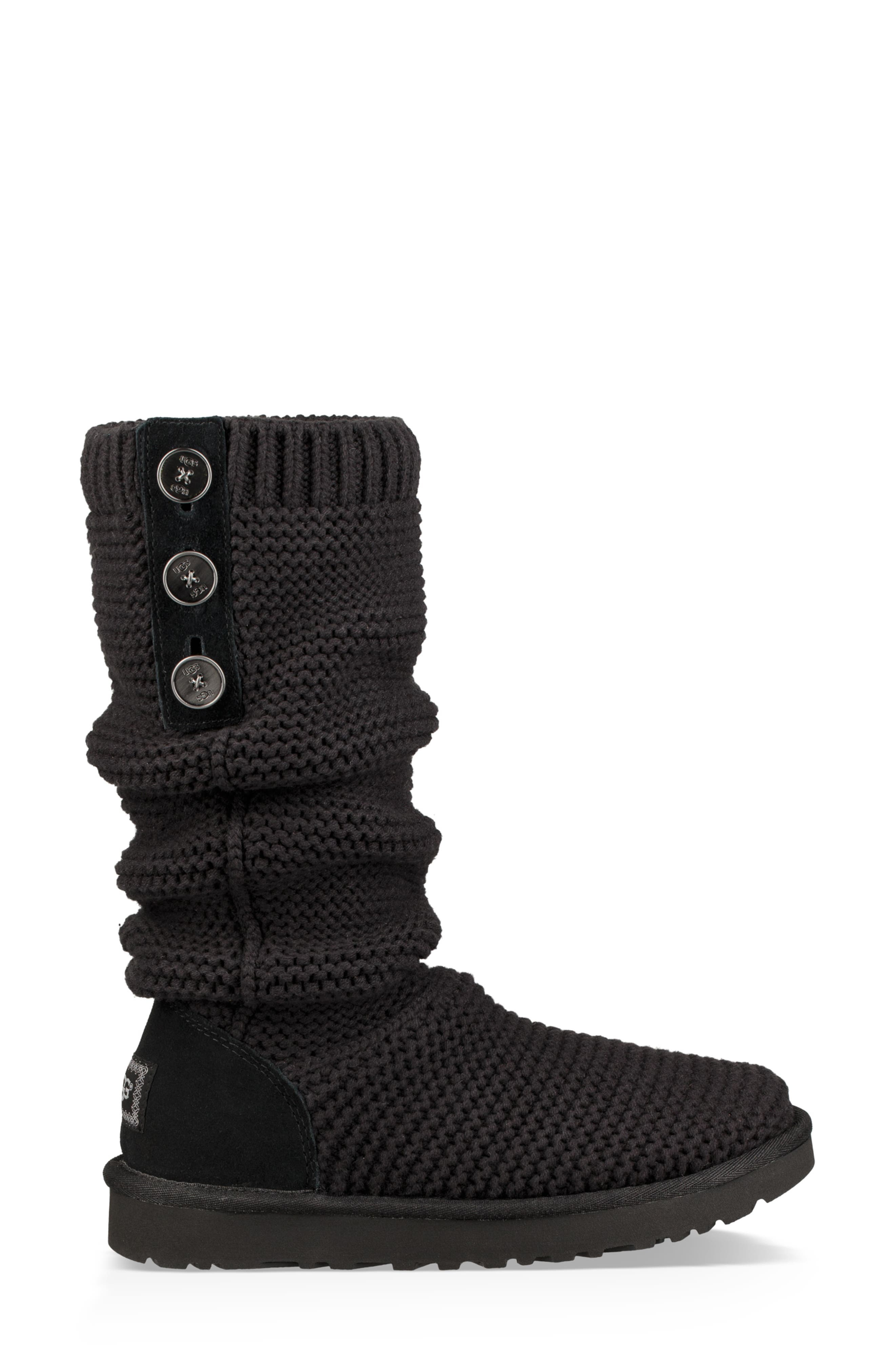 UGG<SUP>®</SUP>,                             Purl Cardy Knit Boot,                             Alternate thumbnail 4, color,                             001