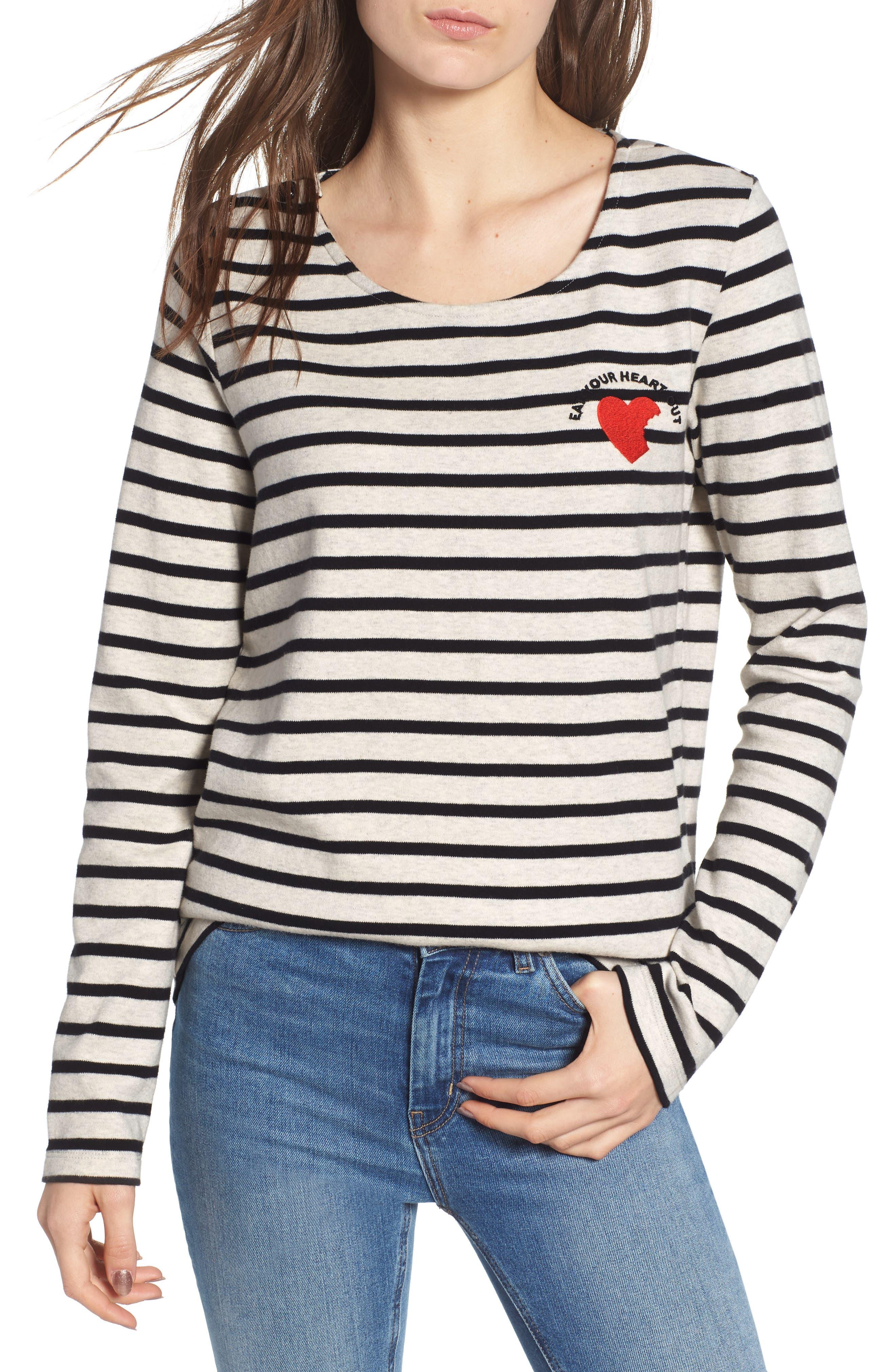 Breton Stripe Long Sleeve Tee,                         Main,                         color, BLACK/ WHITE STRIPE