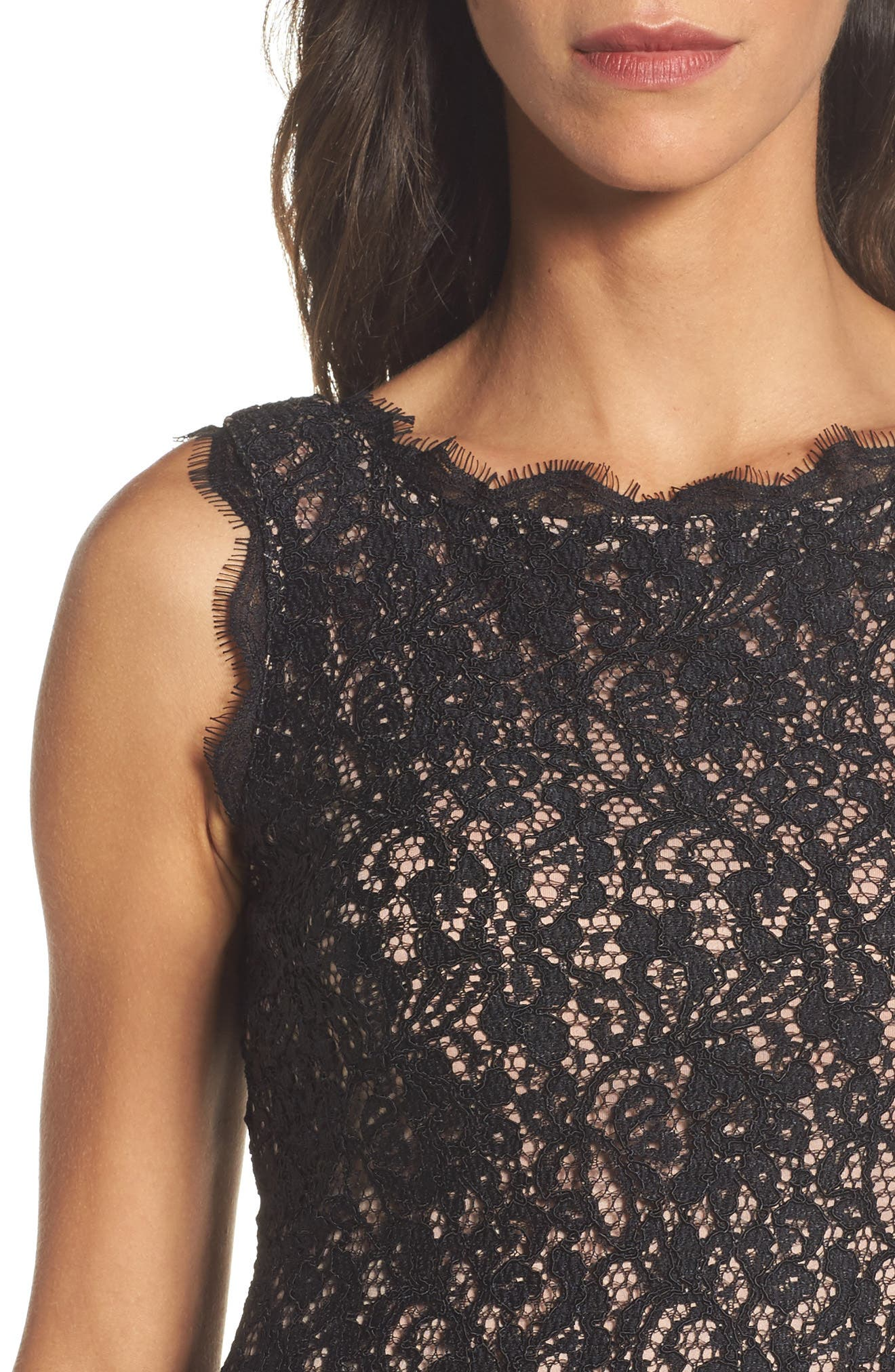 Boatneck Lace Sheath Dress,                             Alternate thumbnail 4, color,                             015