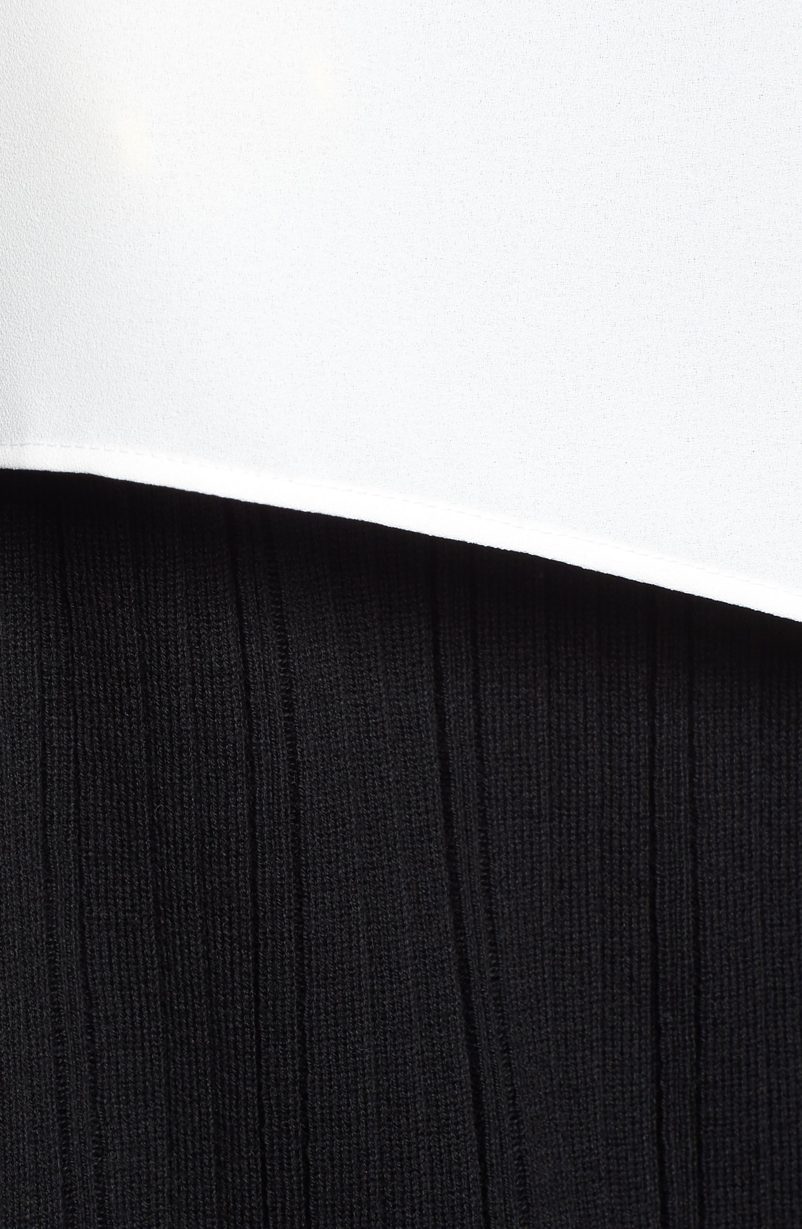 Mixed Media Short Sleeve Tunic Top,                             Alternate thumbnail 5, color,                             WHITE/ BLACK