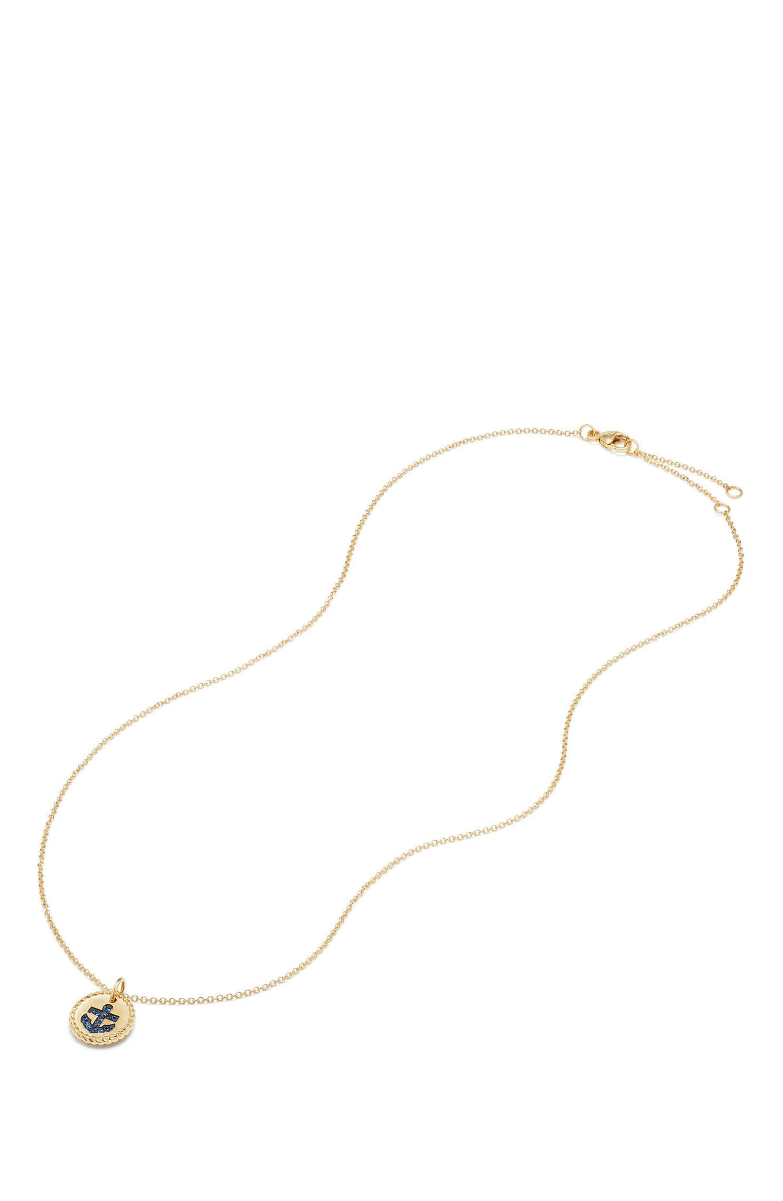 Cable Collectibles Anchor Necklace with Light Blue Sapphires in 18K Gold,                             Alternate thumbnail 2, color,                             GOLD/ LIGHT BLUE SAPPHIRE
