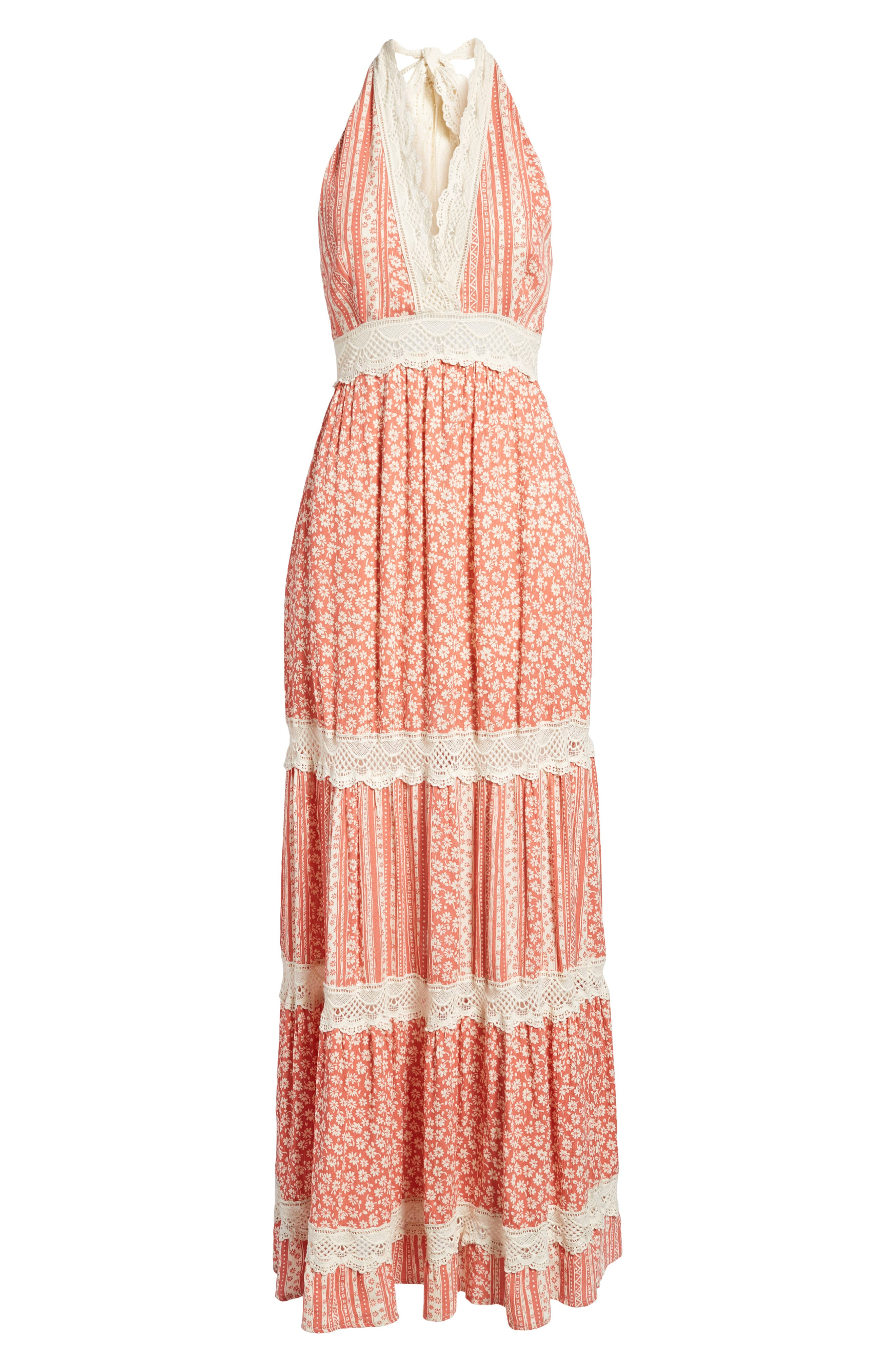 Sun's Out Halter Maxi Dress,                             Alternate thumbnail 6, color,                             951